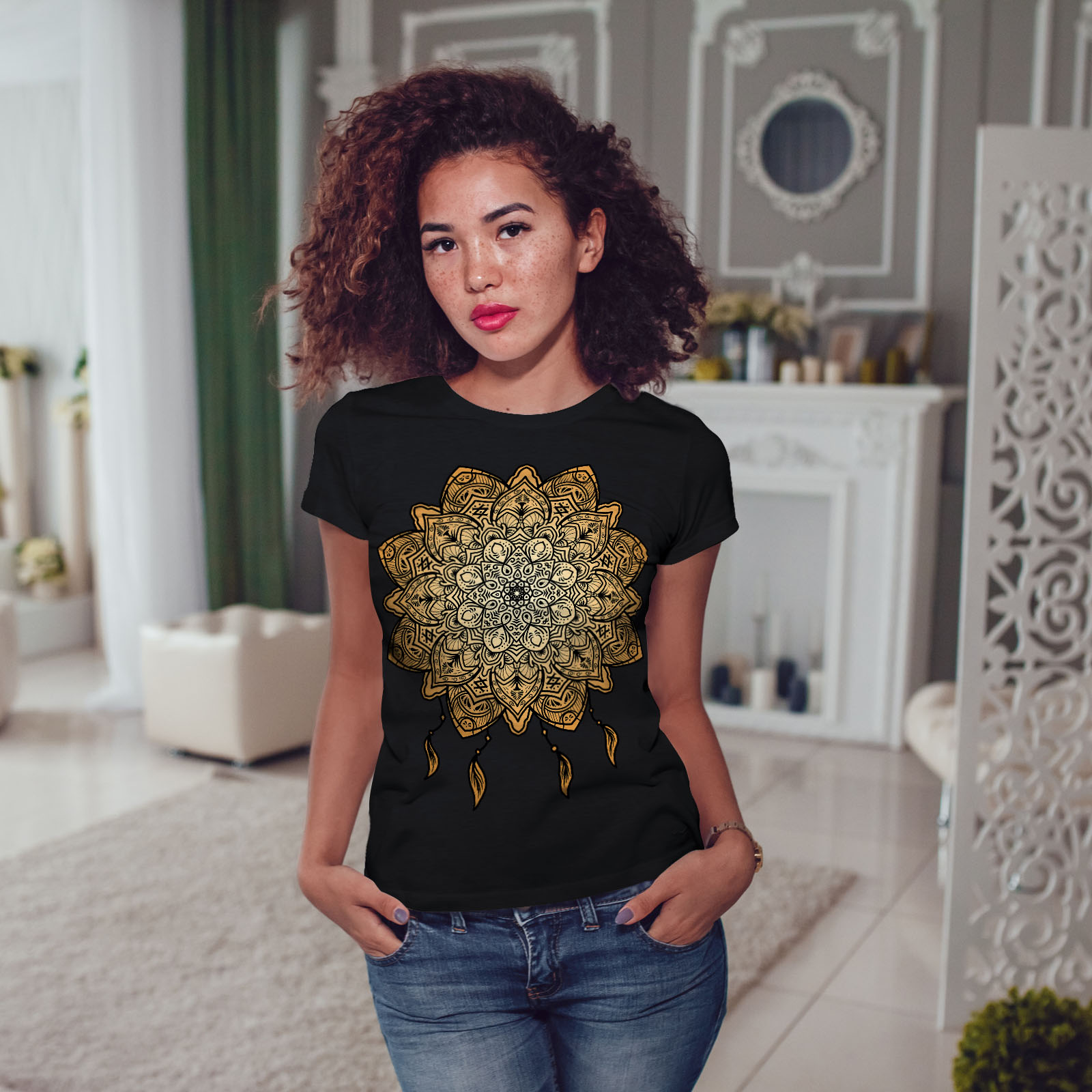 Wellcoda-Mandala-Yoga-Womens-T-shirt-Spiritual-Casual-Design-Printed-Tee thumbnail 5
