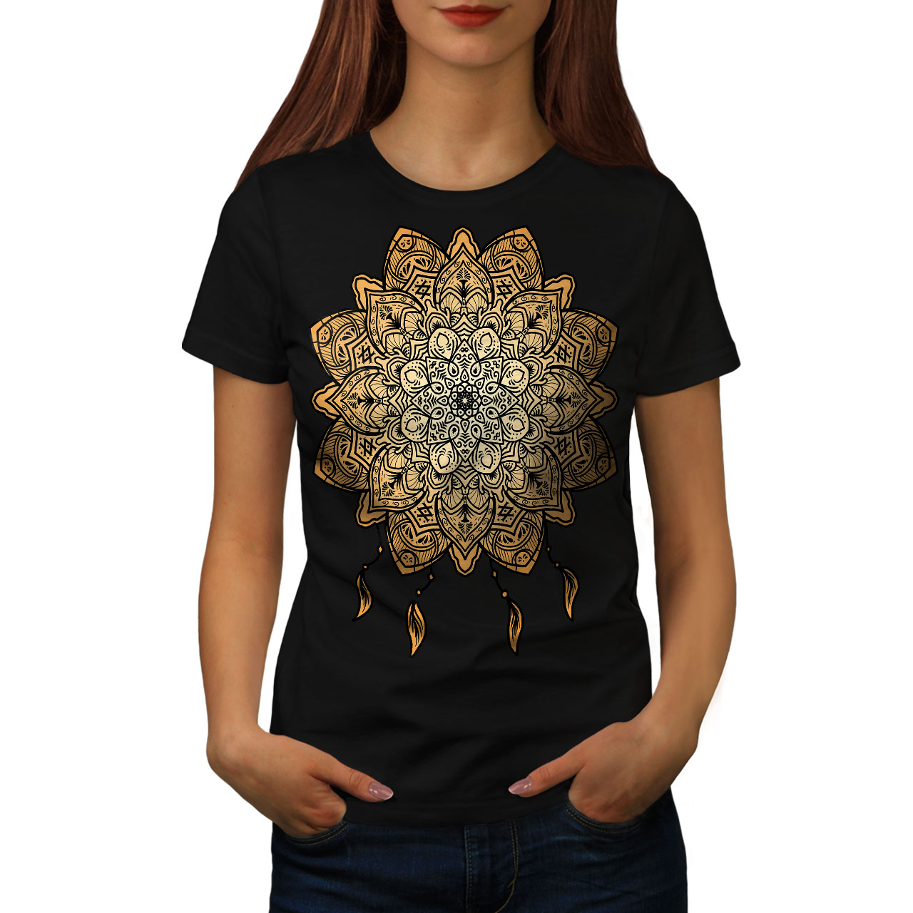 Wellcoda-Mandala-Yoga-Womens-T-shirt-Spiritual-Casual-Design-Printed-Tee thumbnail 3
