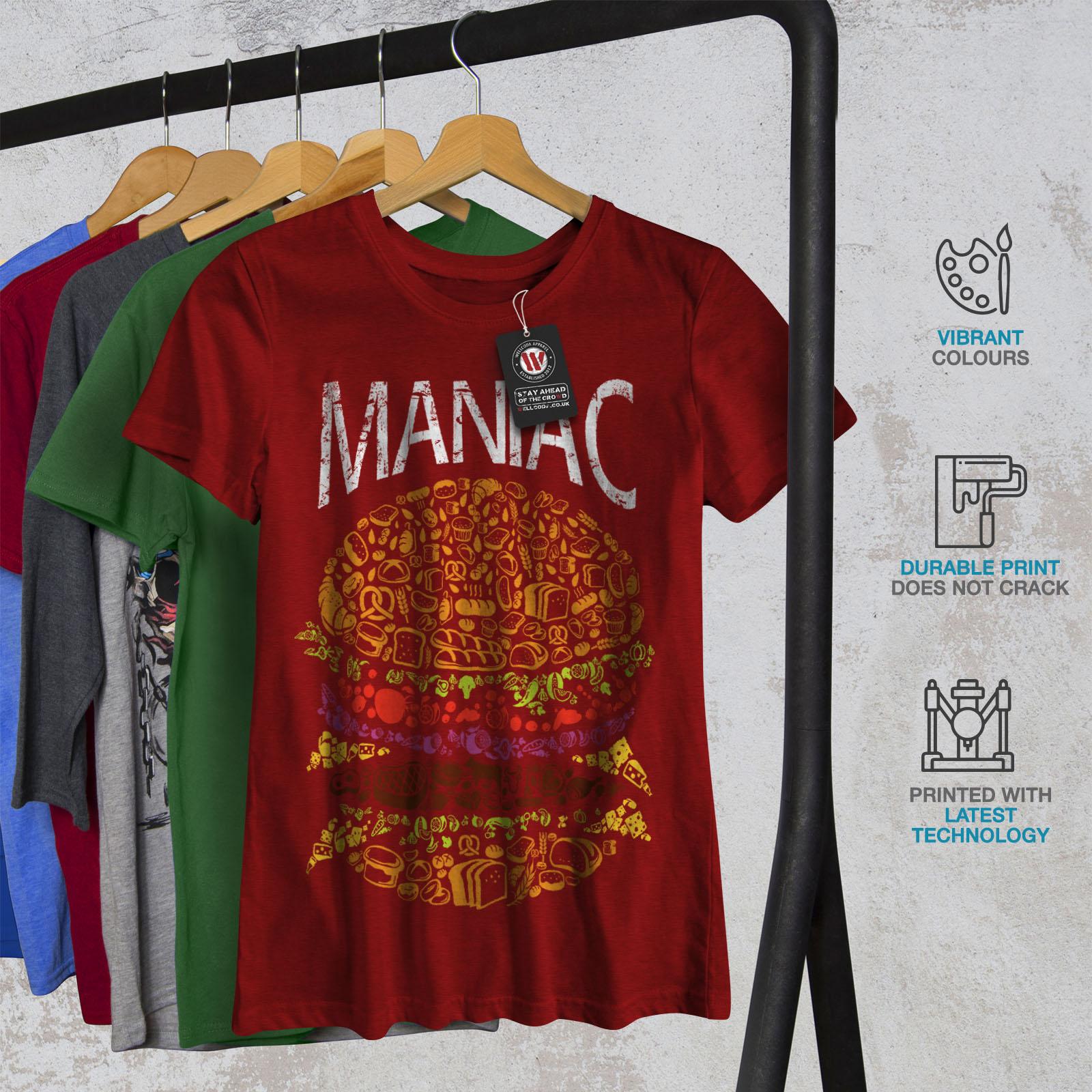 Burger-cibo-spazzatura-Donne-Fast-T-shirt-Nuove-wellcoda miniatura 12
