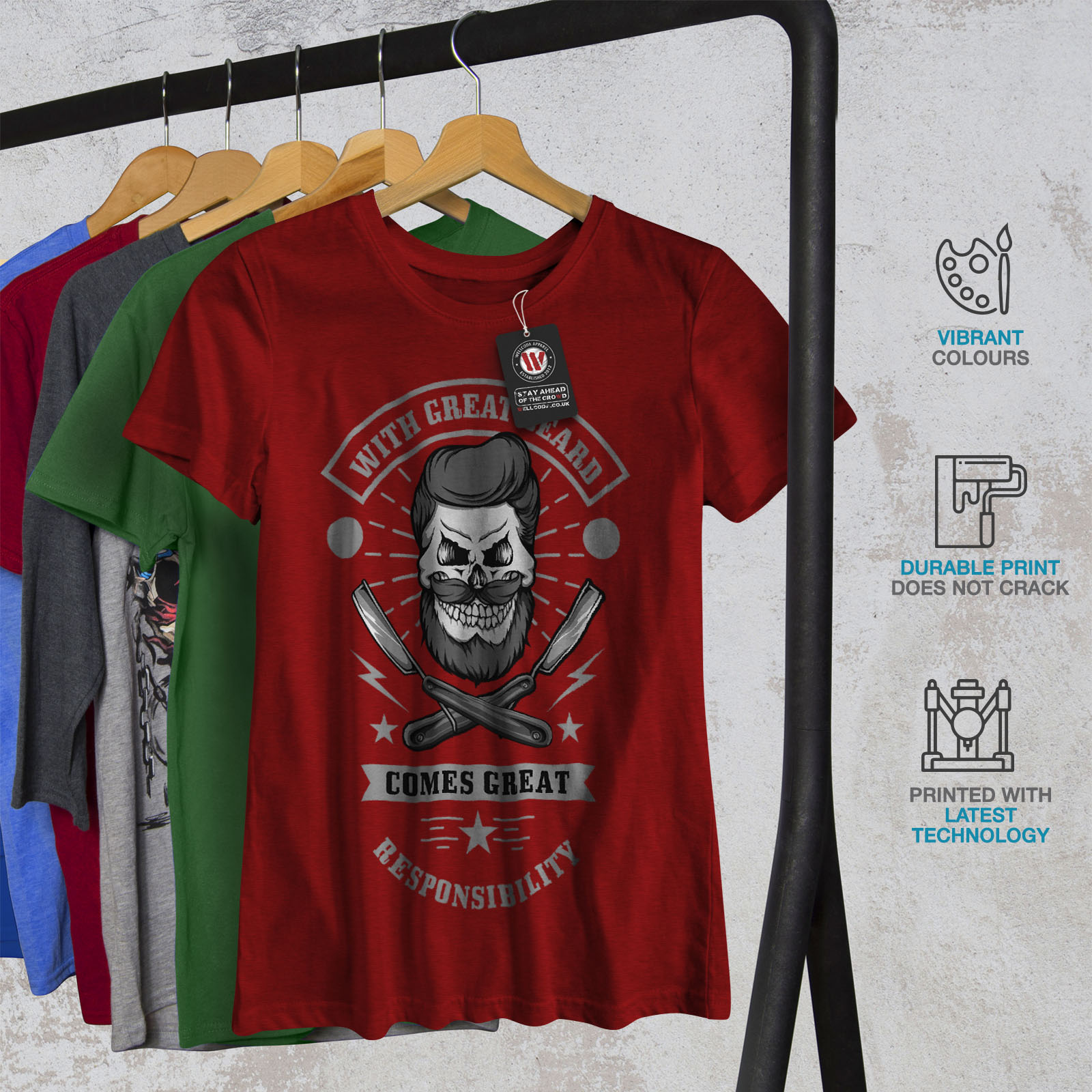 miniature 12 - Wellcoda Great Beard Style Funny Womens T-shirt,  Casual Design Printed Tee