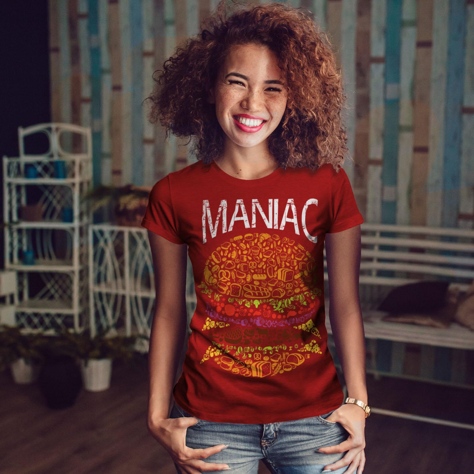 Burger-cibo-spazzatura-Donne-Fast-T-shirt-Nuove-wellcoda miniatura 10
