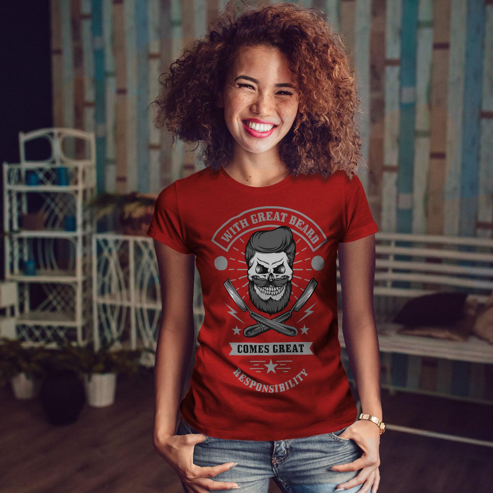 miniature 10 - Wellcoda Great Beard Style Funny Womens T-shirt,  Casual Design Printed Tee