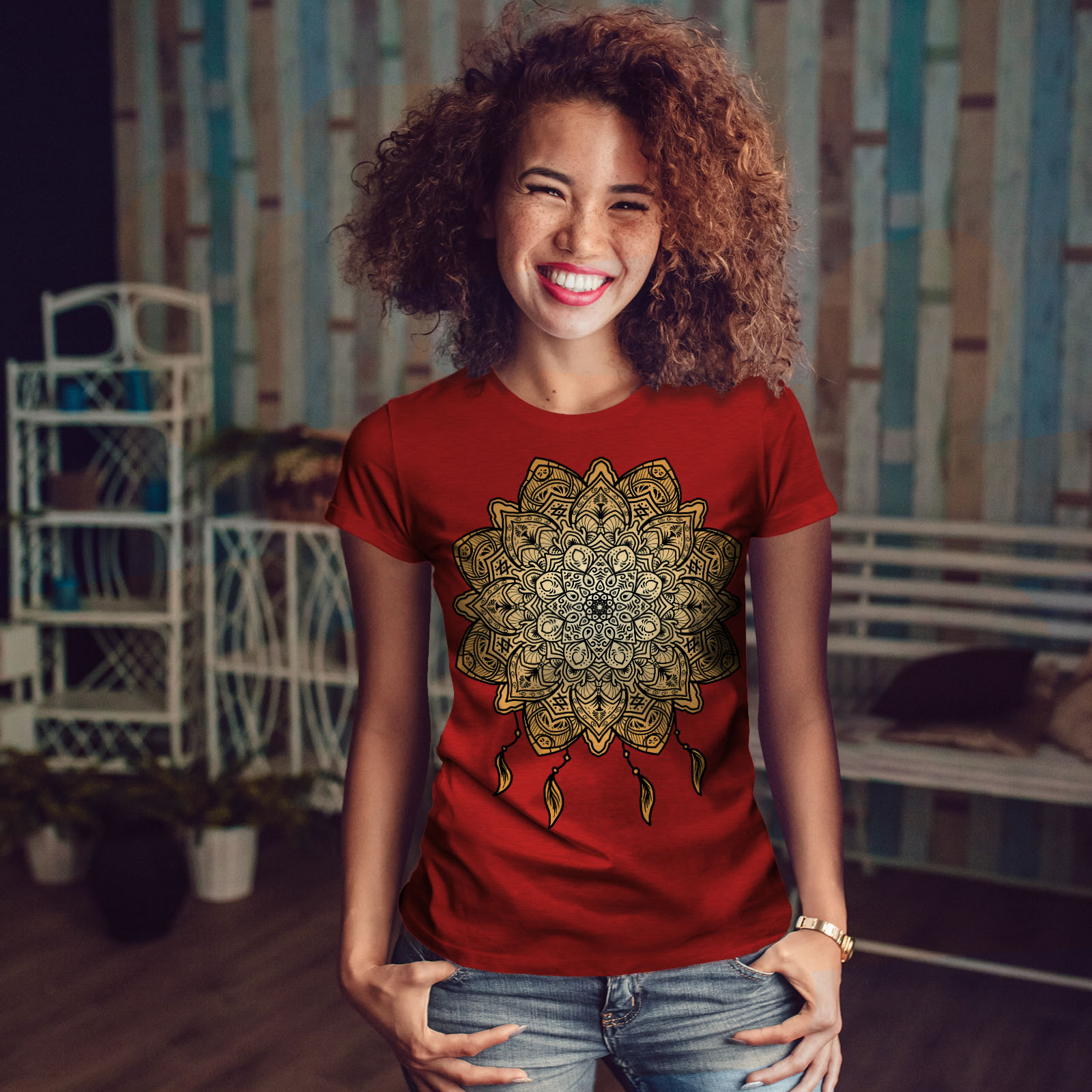 Wellcoda-Mandala-Yoga-Womens-T-shirt-Spiritual-Casual-Design-Printed-Tee thumbnail 10
