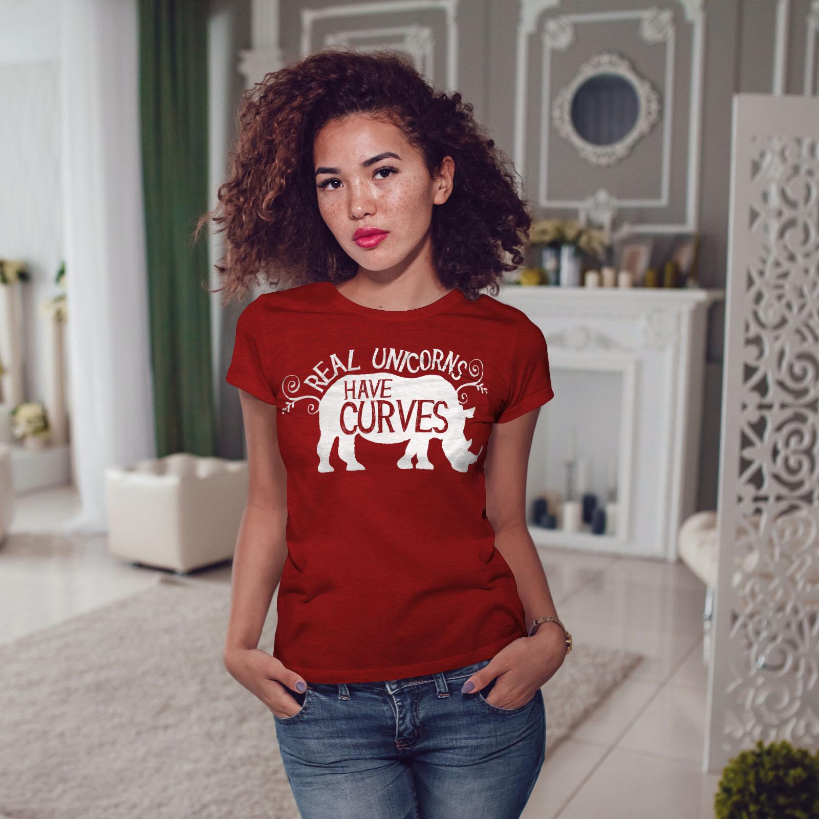 RHINO Casual Design Imprimé Tee Wellcoda licornes ont courbes T-shirt femme