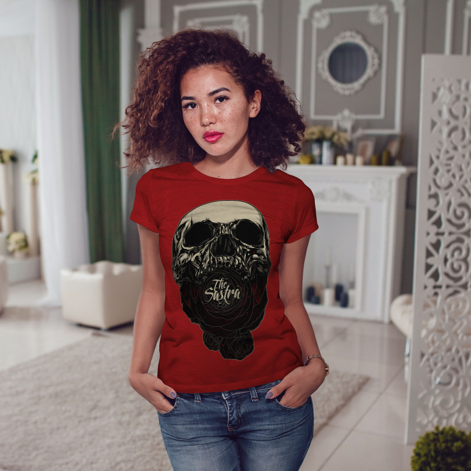 a954beb84a The Sastra Rose Skull Women T-shirt NEW