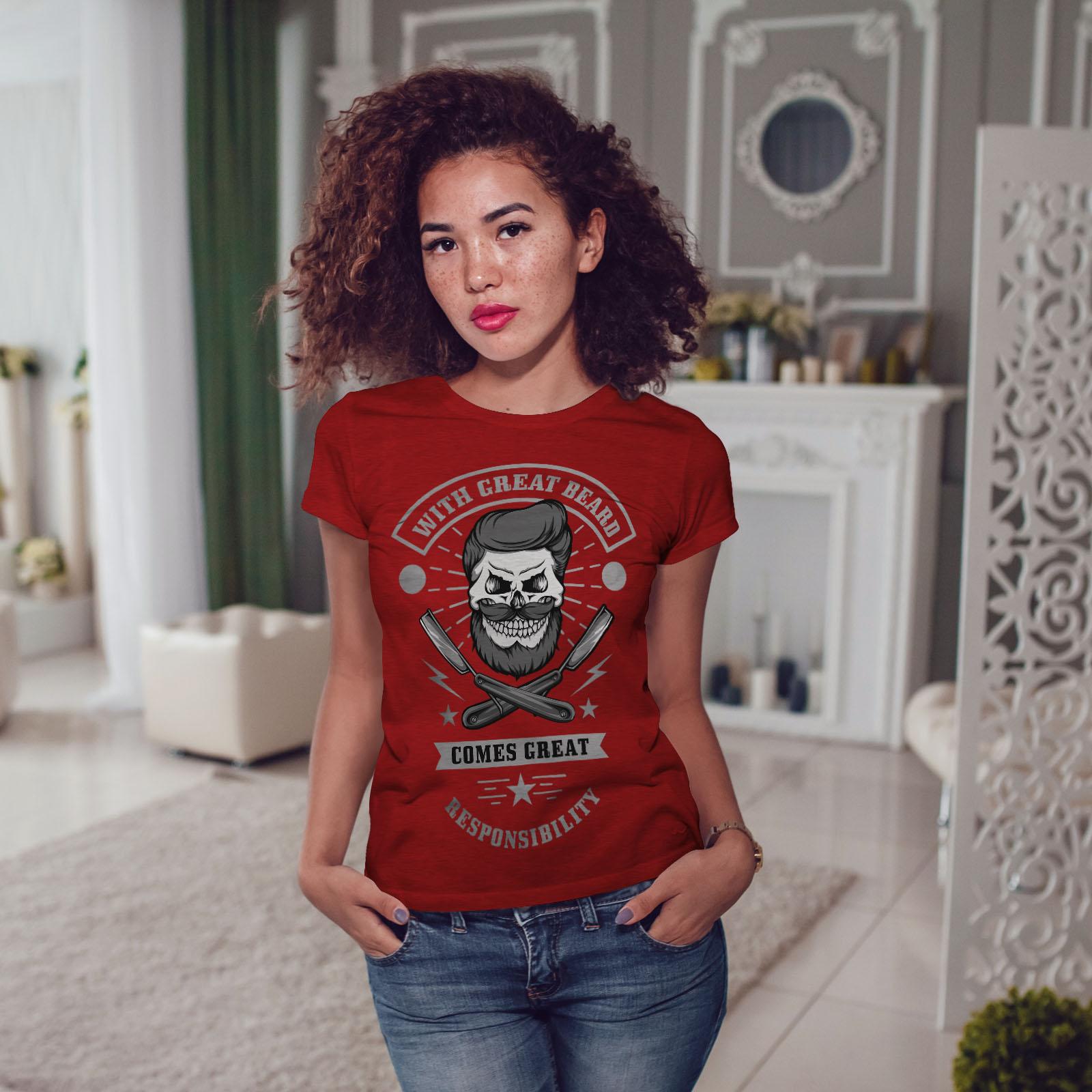 miniature 11 - Wellcoda Great Beard Style Funny Womens T-shirt,  Casual Design Printed Tee