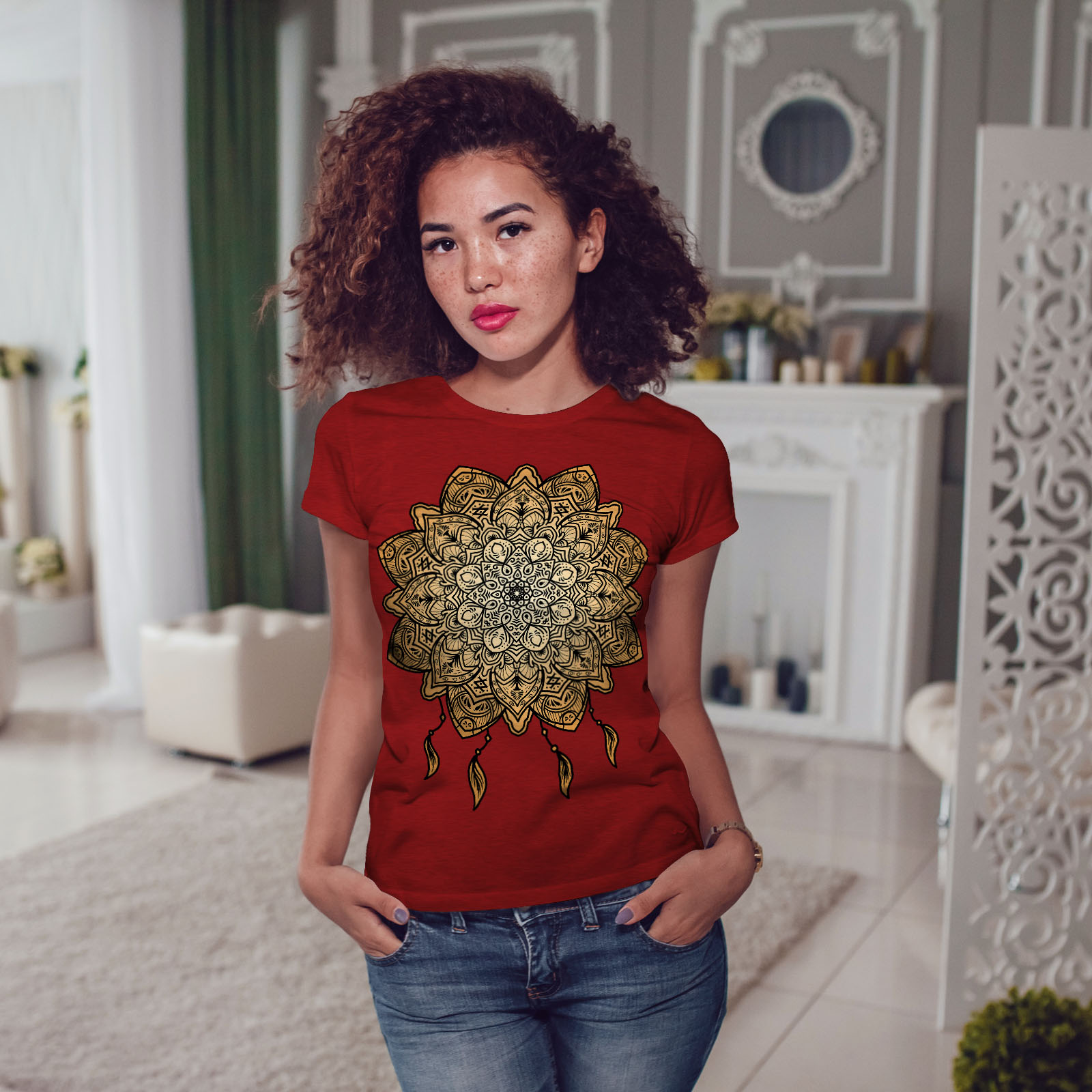 Wellcoda-Mandala-Yoga-Womens-T-shirt-Spiritual-Casual-Design-Printed-Tee thumbnail 11