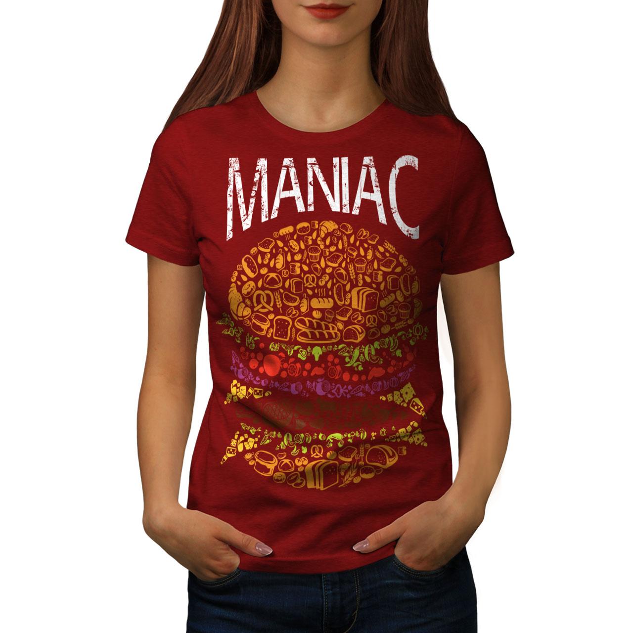 Burger-cibo-spazzatura-Donne-Fast-T-shirt-Nuove-wellcoda miniatura 9