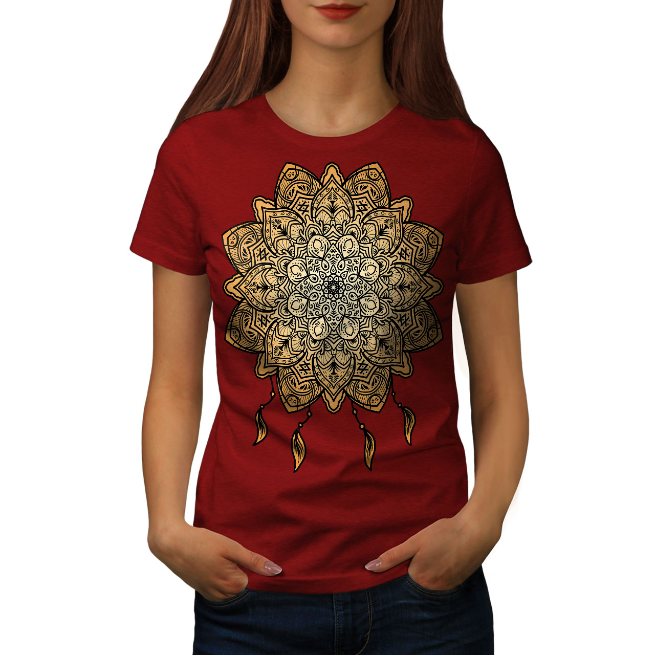 Wellcoda-Mandala-Yoga-Womens-T-shirt-Spiritual-Casual-Design-Printed-Tee thumbnail 9