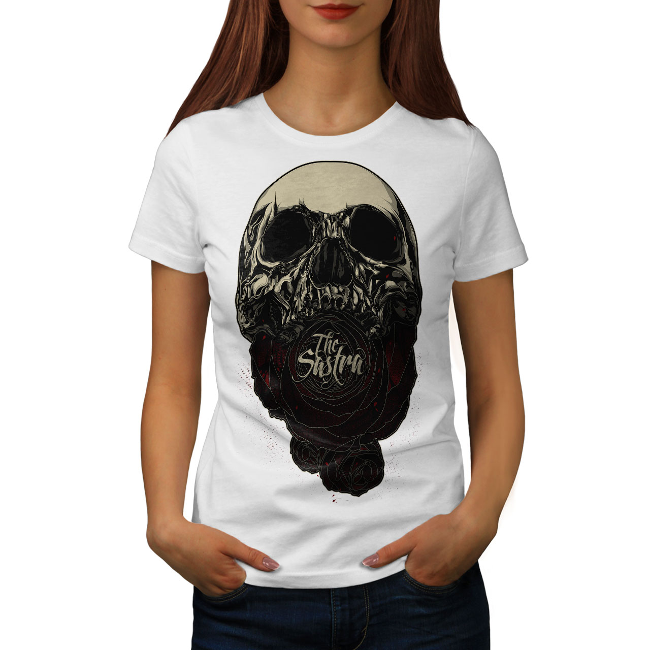 9f58981301 Image is loading The-Sastra-Rose-Skull-Women-T-shirt-NEW-