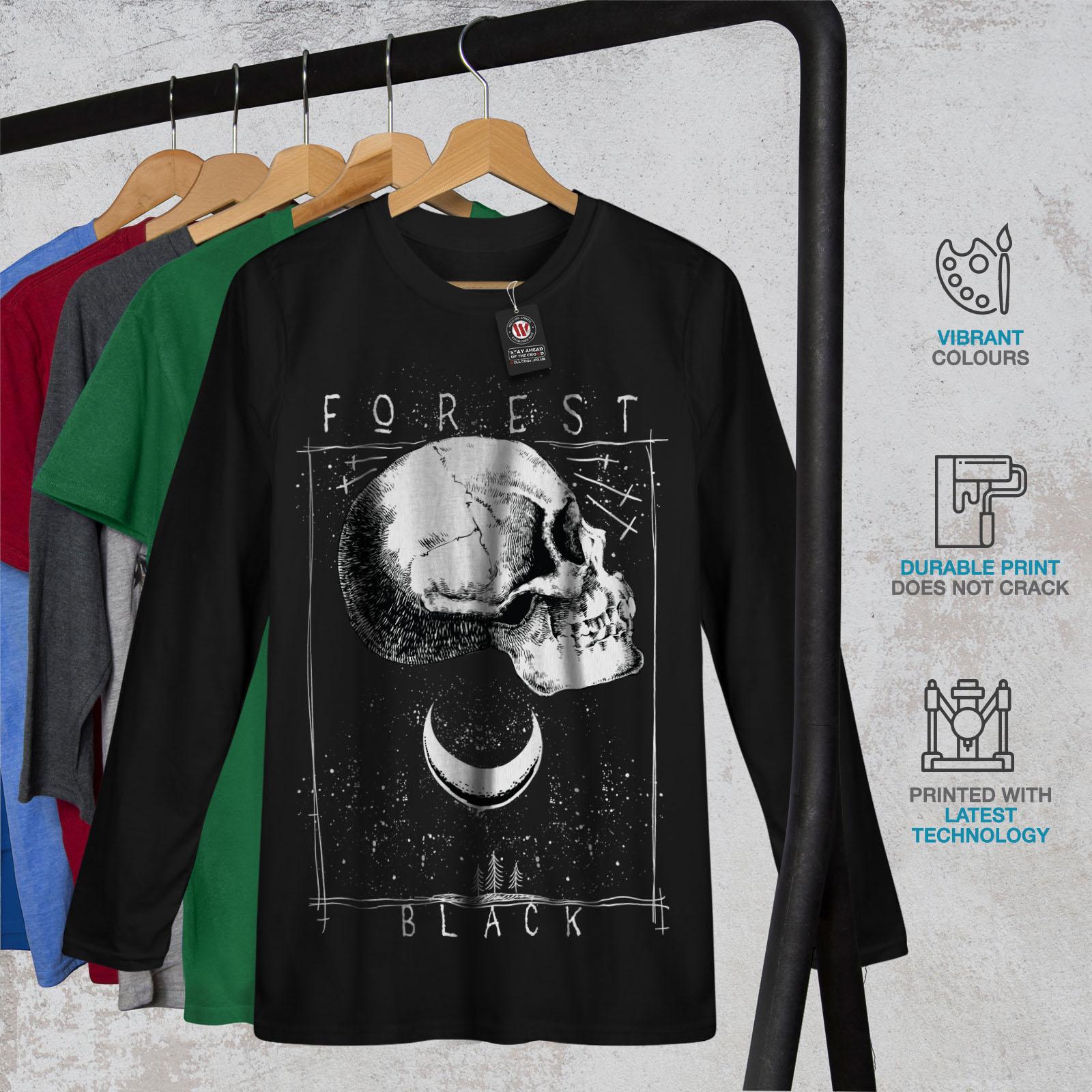 Forest Black Skull Women Long Sleeve T-shirt NEWWellcoda