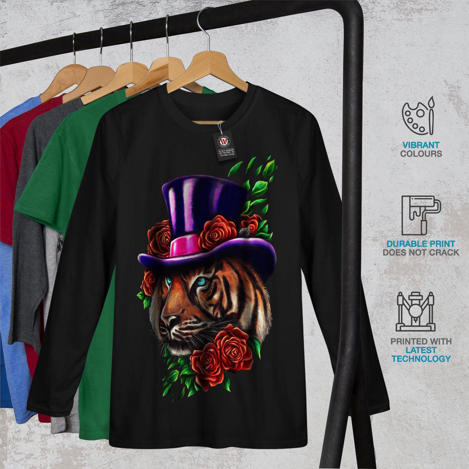 Tiger Beast Purple Animal Men Long Sleeve T-shirt NEWWellcoda