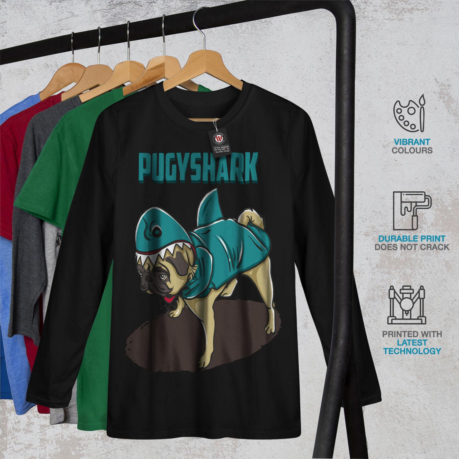 Pug Shark Women Long Sleeve T-shirt NEWWellcoda