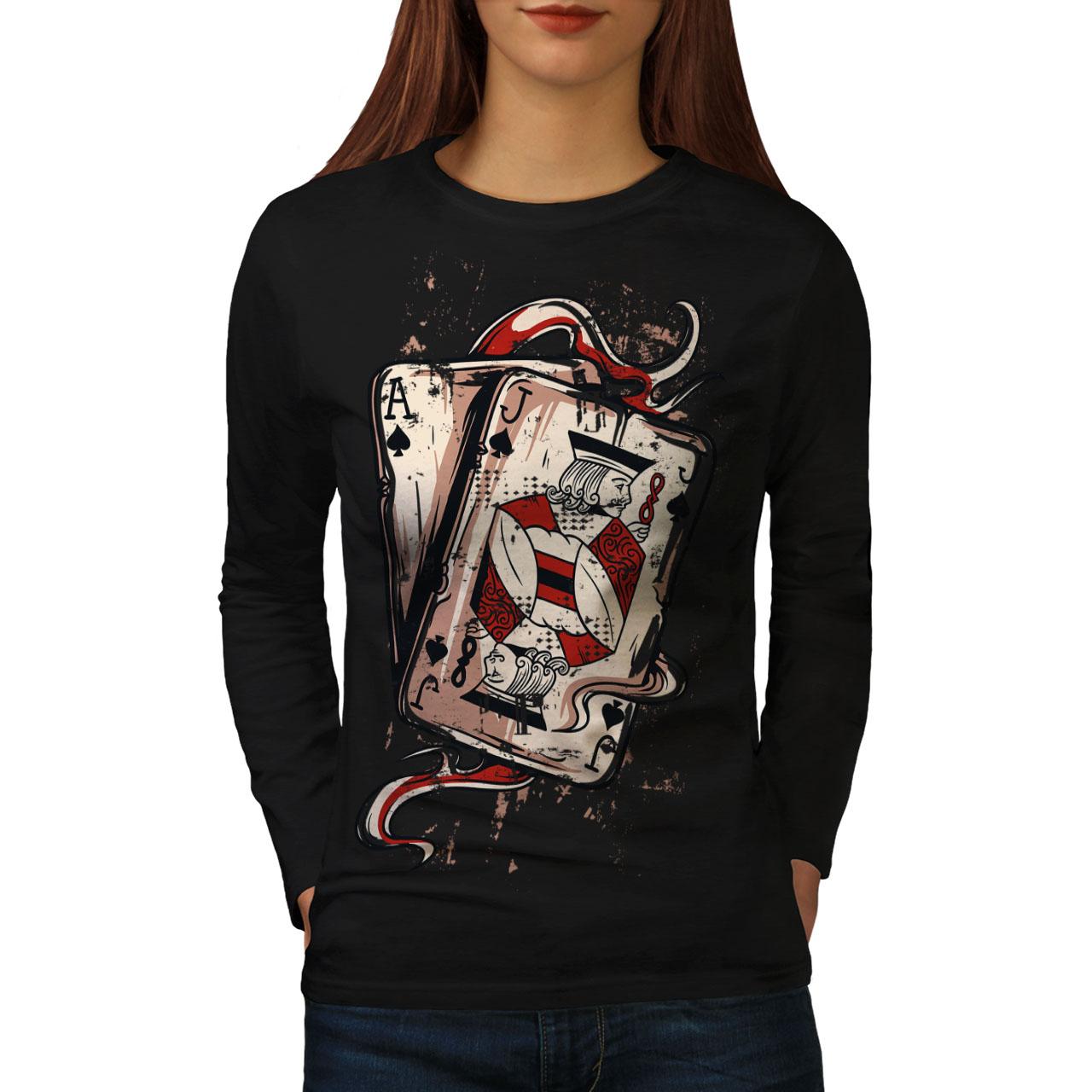 Wellcoda Ace Jack De Espadas Mujer Manga Larga T-shirt, Diseño Casual De Tarjeta