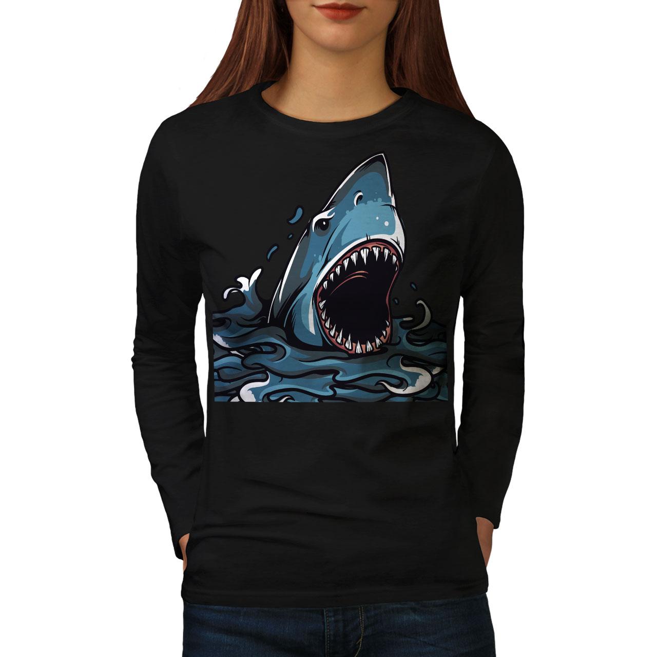 Shark Mandíbulas Animal Aterrador Para Mujeres De Manga Larga T-shirt New | Wellcoda