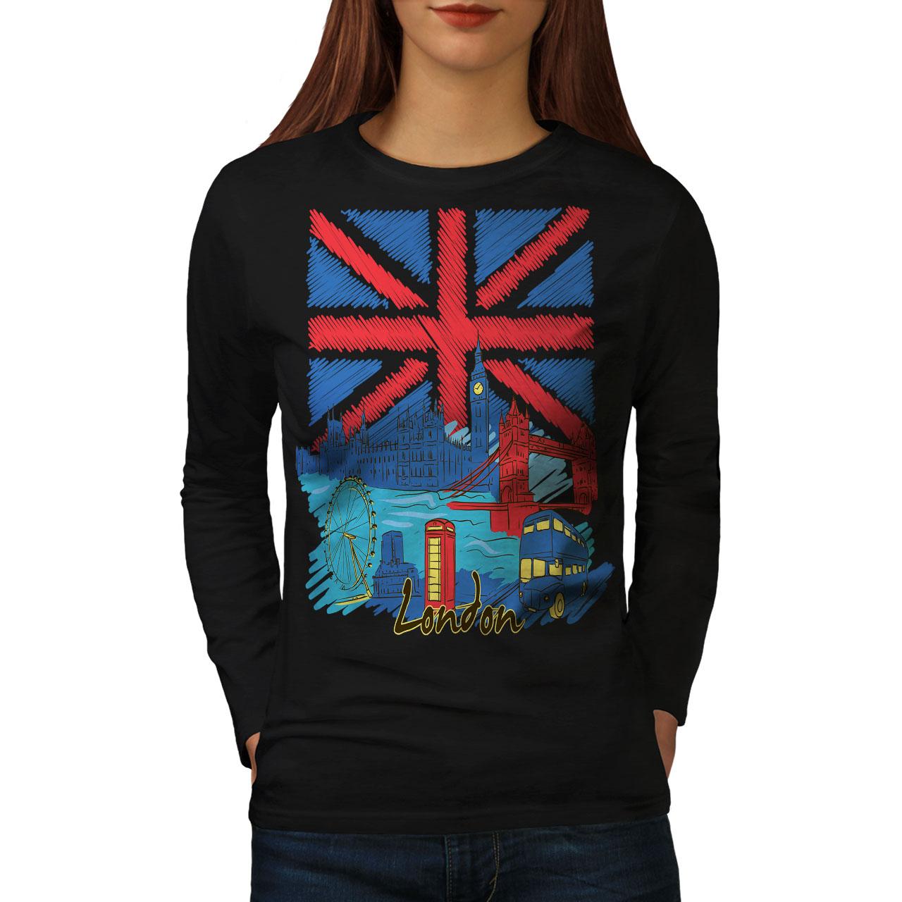 2019 Moda Inghilterra Bandiera Uk Donne London Manica Lunga T-shirt Nuove | Wellcoda-mostra Il Titolo Originale Rafforzare La Vita E I Sinews