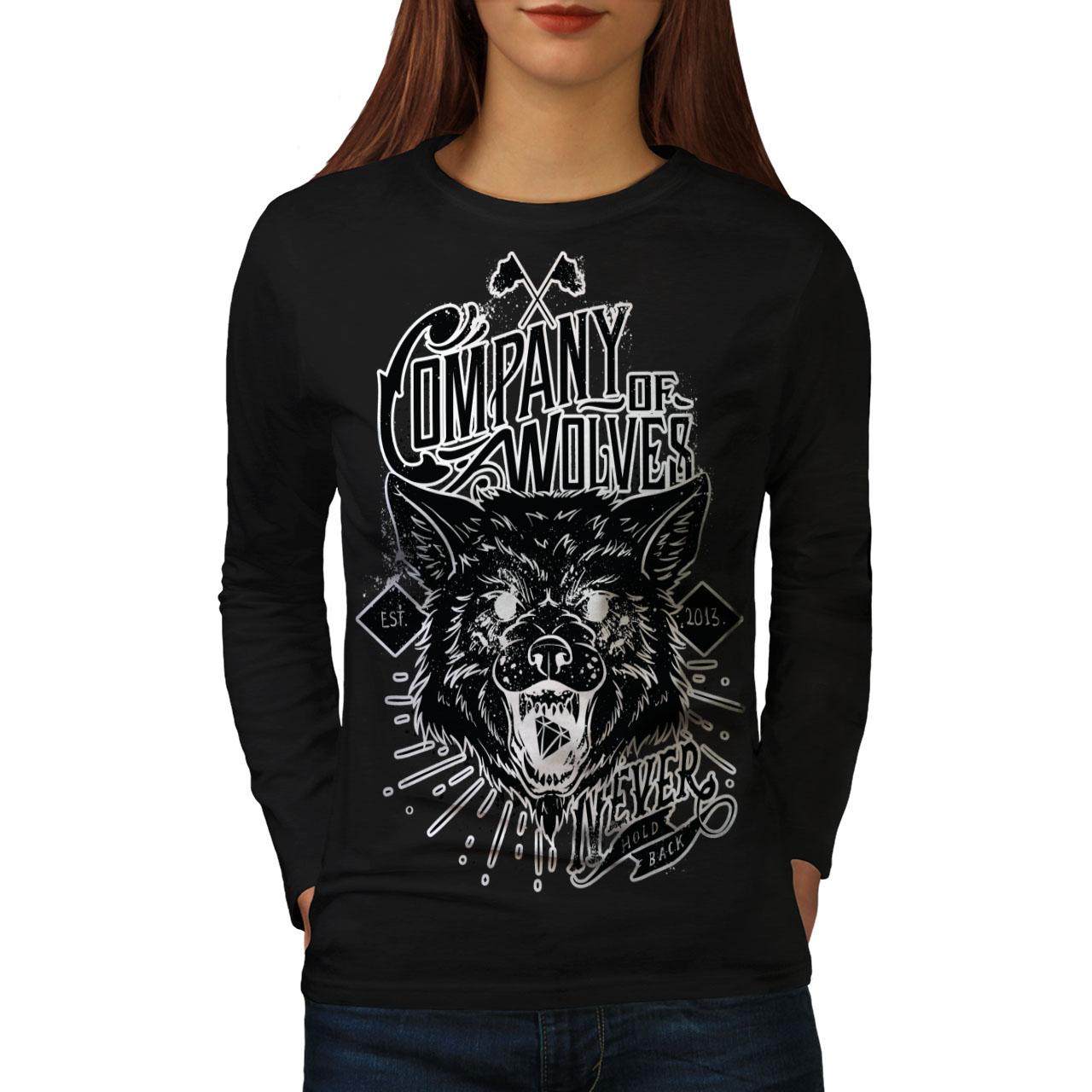 2019 Ultimo Disegno Wellcoda Dei Lupi Da Donna Company Manica Lunga T-shirt, Mai Casual Design-mostra Il Titolo Originale Disabilità Strutturali