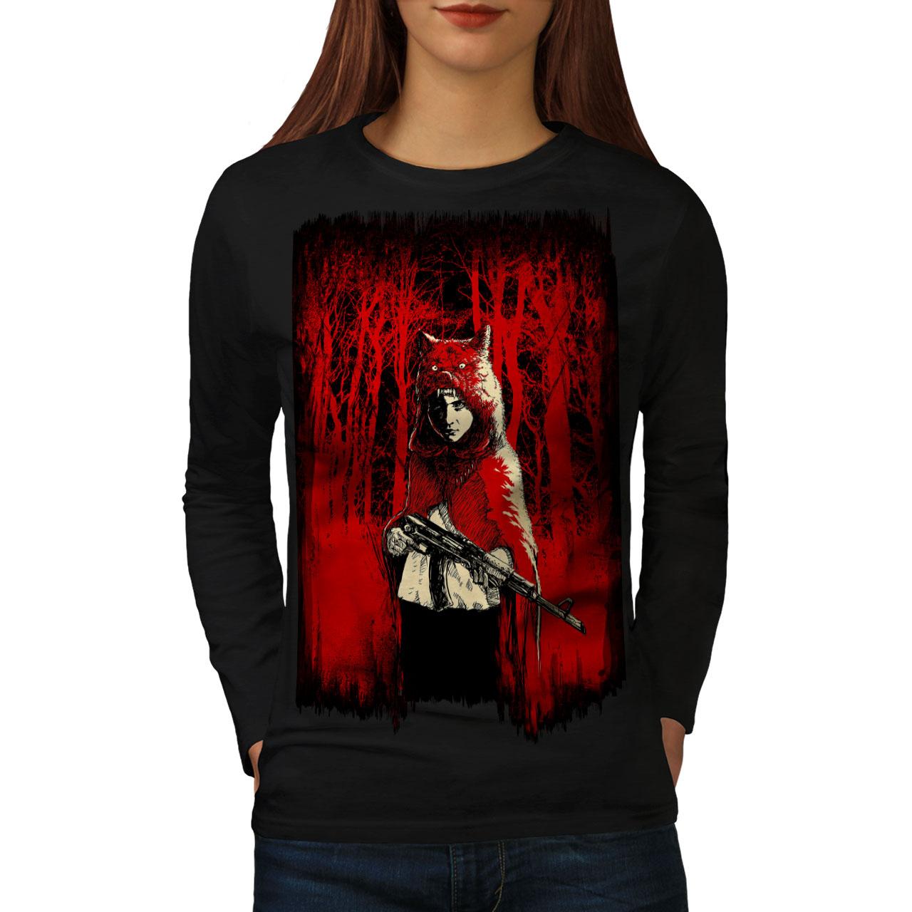 Wellcoda Chica Cazador Salvaje Mujer Manga Larga T-shirt, Diseño Casual Aterrador