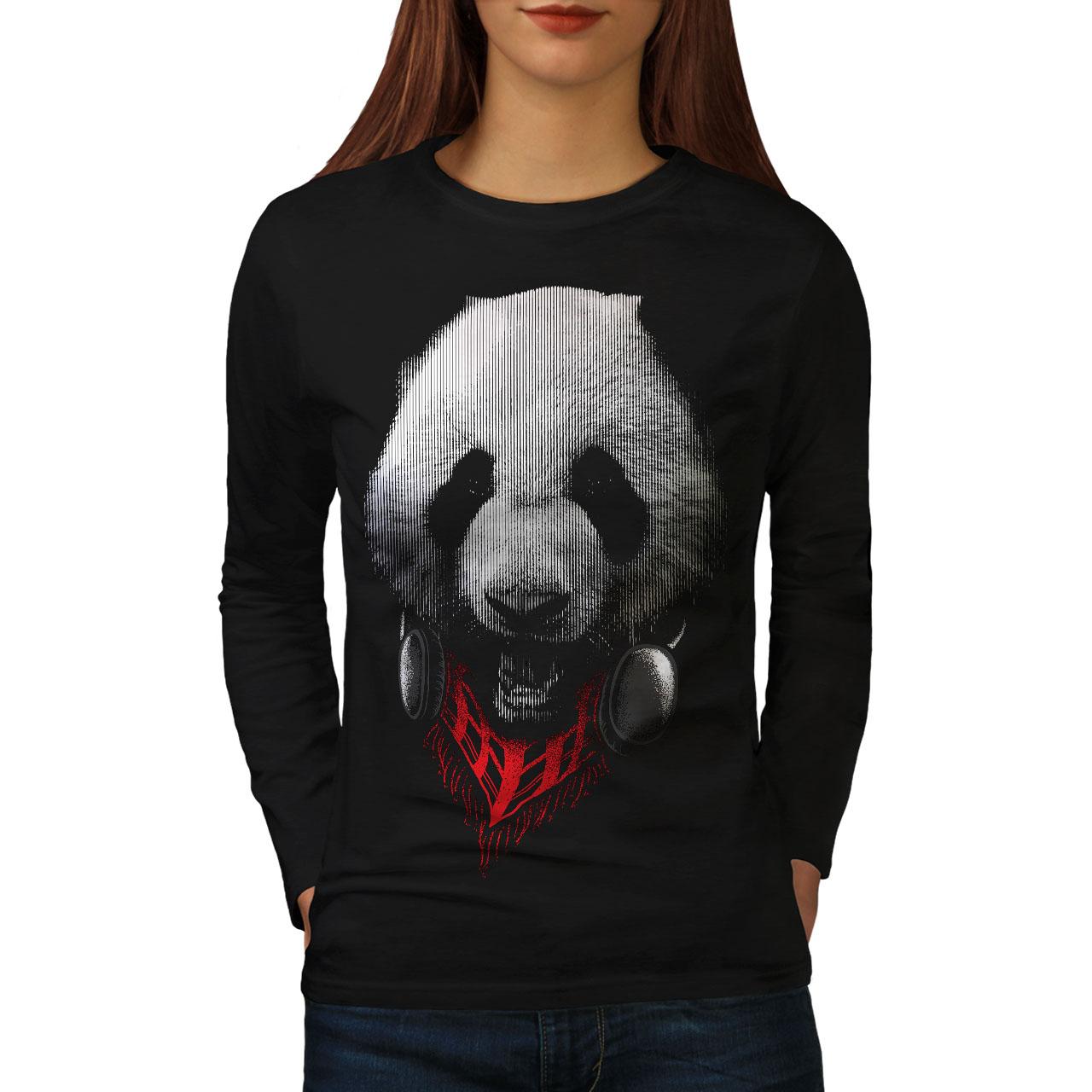 Panda Con Auricular Animal Para Mujeres De Manga Larga T-shirt New | Wellcoda