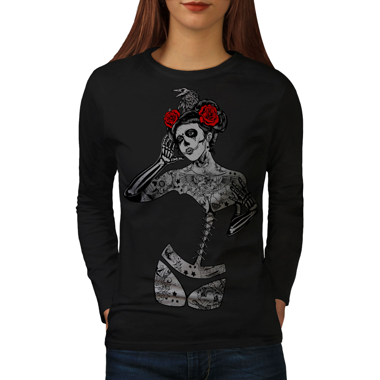 Girl Sugar Death Skull Women T-shirt NEWWellcoda