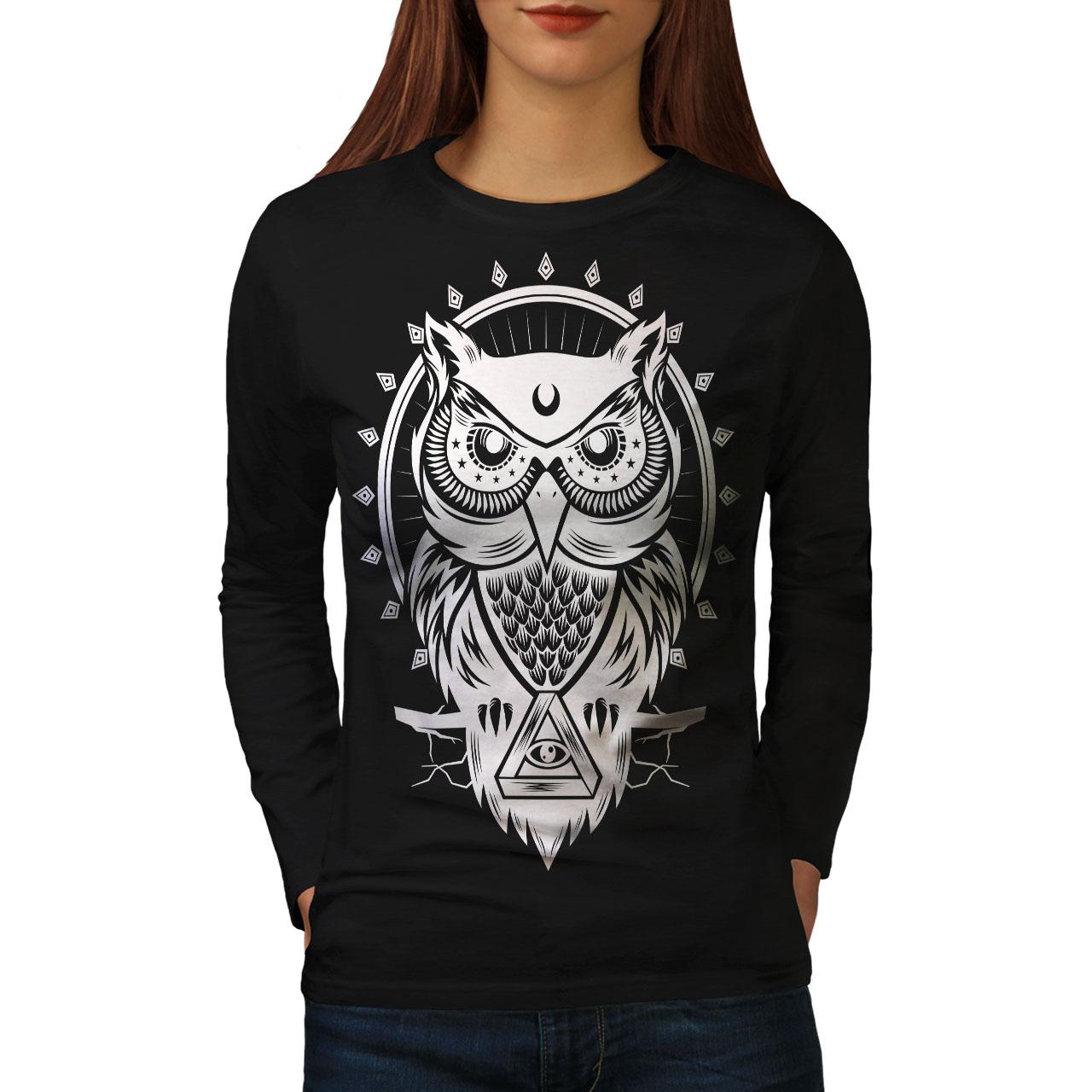 Búho Ojo Illuminati Animal Mujeres Mangas Largas Nuevo Camiseta | Wellcoda