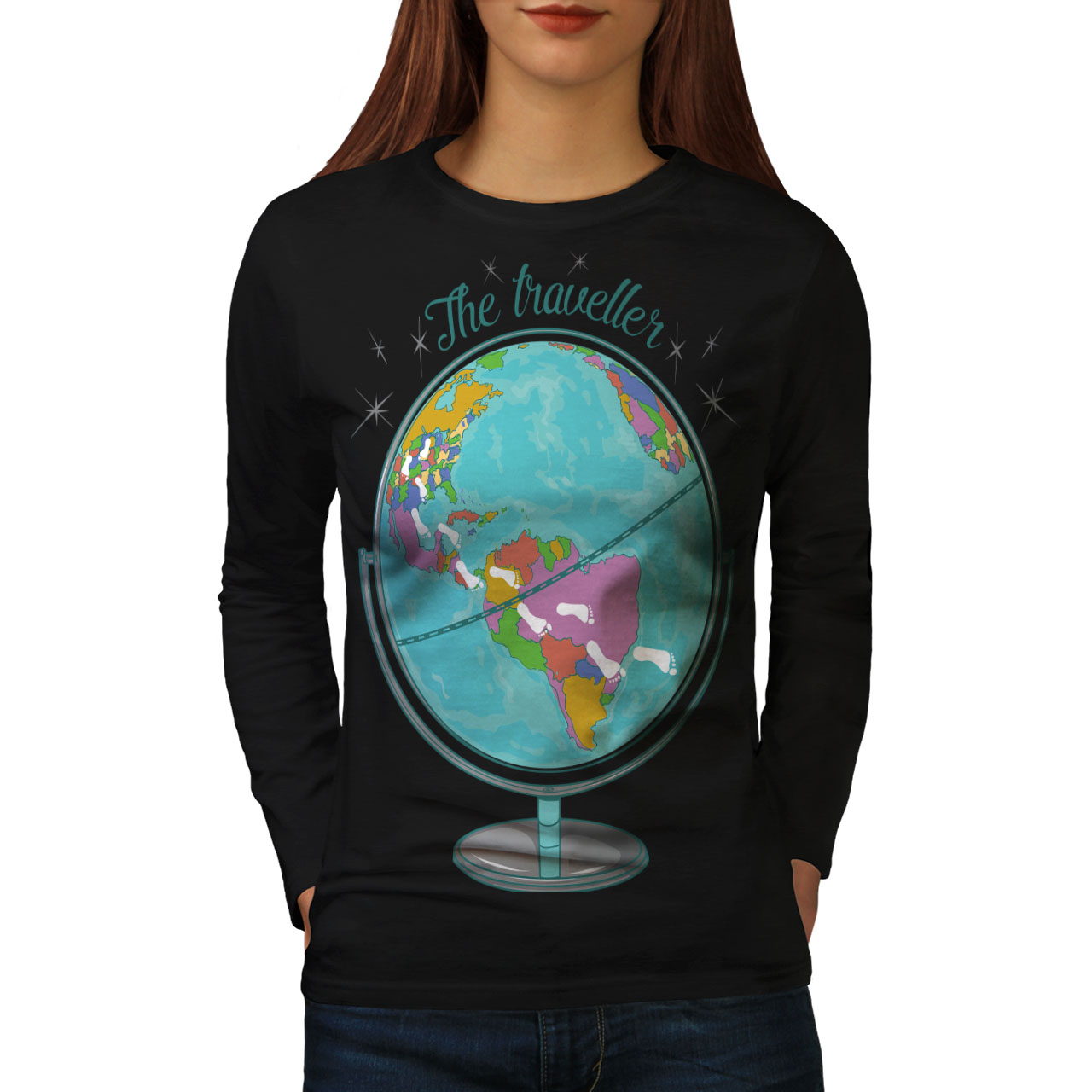 Globe Traveller Women Long Sleeve T-shirt NEWWellcoda