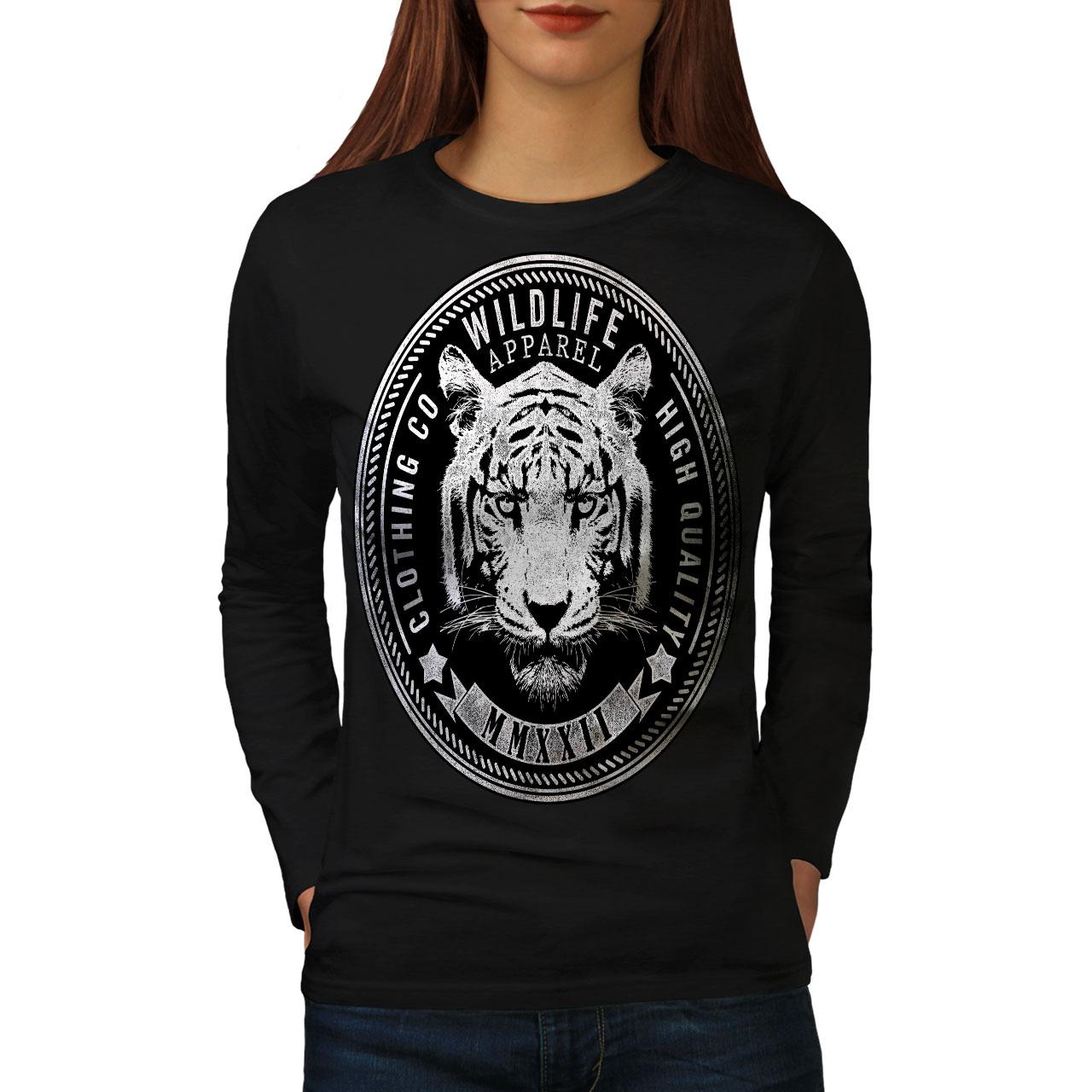 Vida Silvestre Tigre Vintage Para Mujeres De Manga Larga T-shirt New | Wellcoda