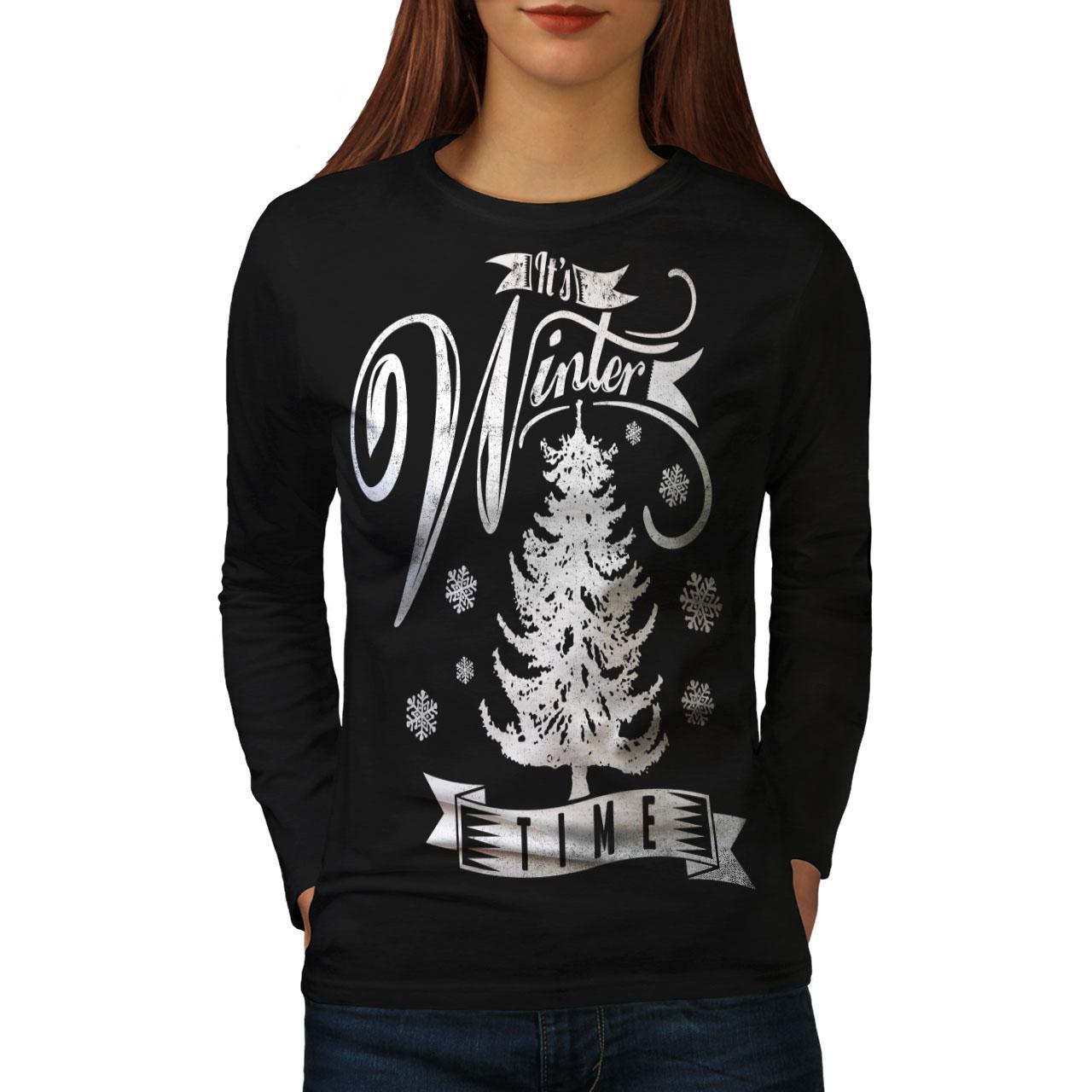 Winter Time Christmas Women Long Sleeve T-shirt NEWWellcoda