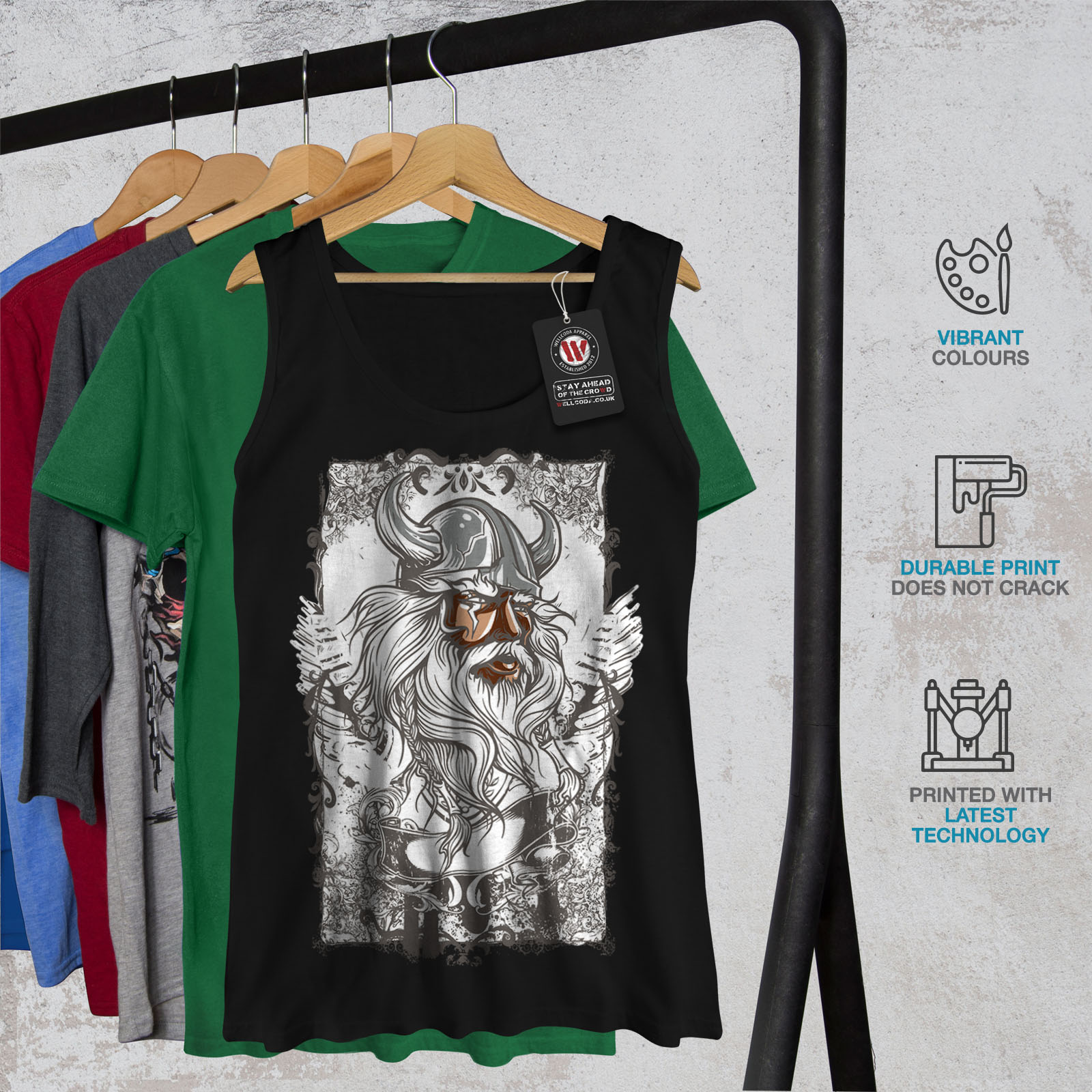 Wellcoda-North-Warrior-Face-Womens-Tank-Top-Nordic-Athletic-Sports-Shirt thumbnail 7