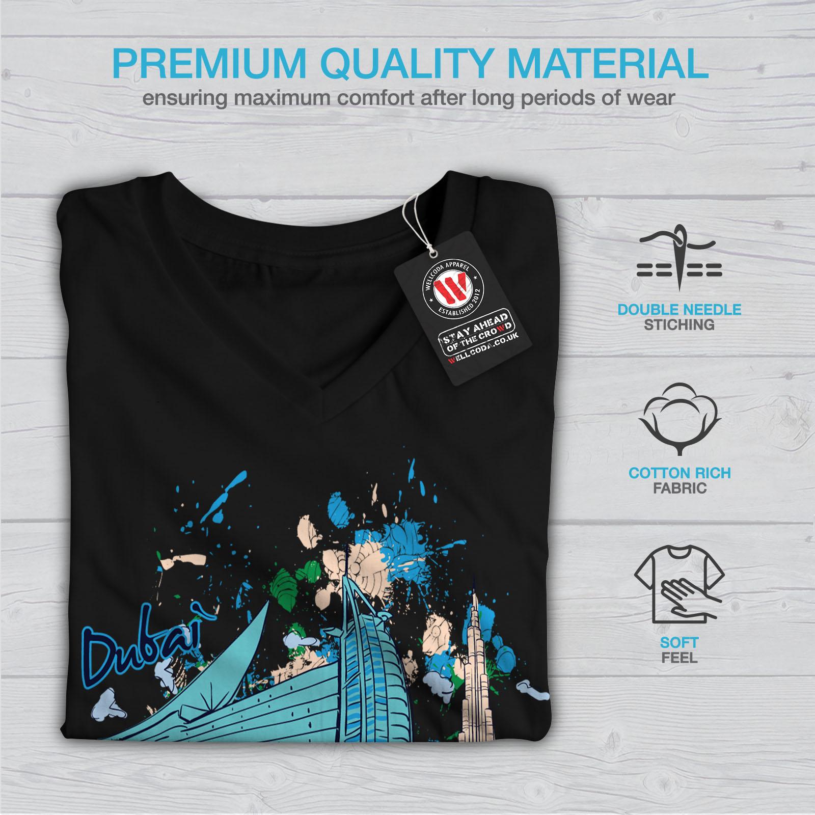 Wellcoda-Dubai-Womens-V-Neck-T-shirt-United-Arab-Graphic-Design-Tee thumbnail 5