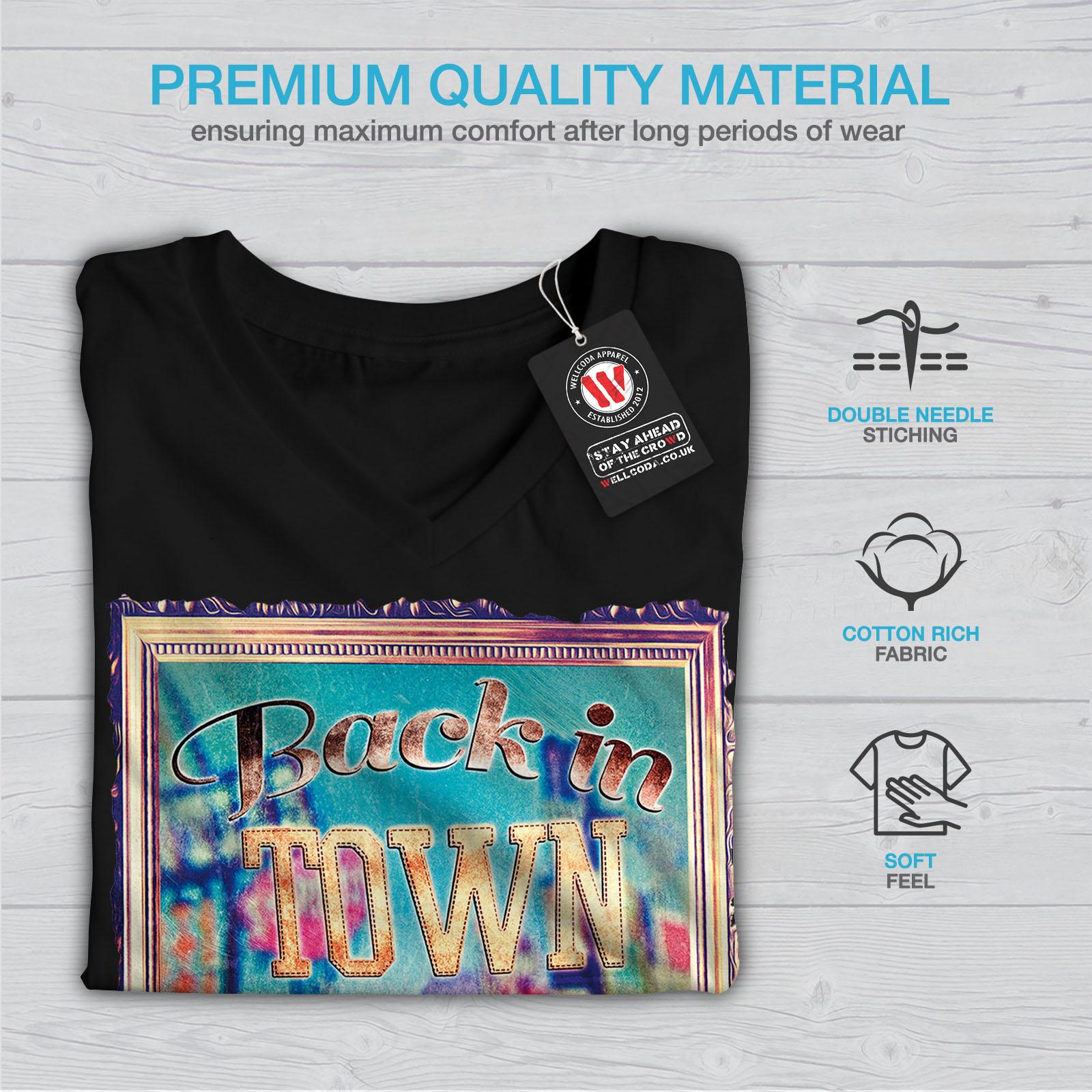 Wellcoda-Back-In-Town-Joke-Womens-V-Neck-T-shirt-Monkey-Graphic-Design-Tee thumbnail 5