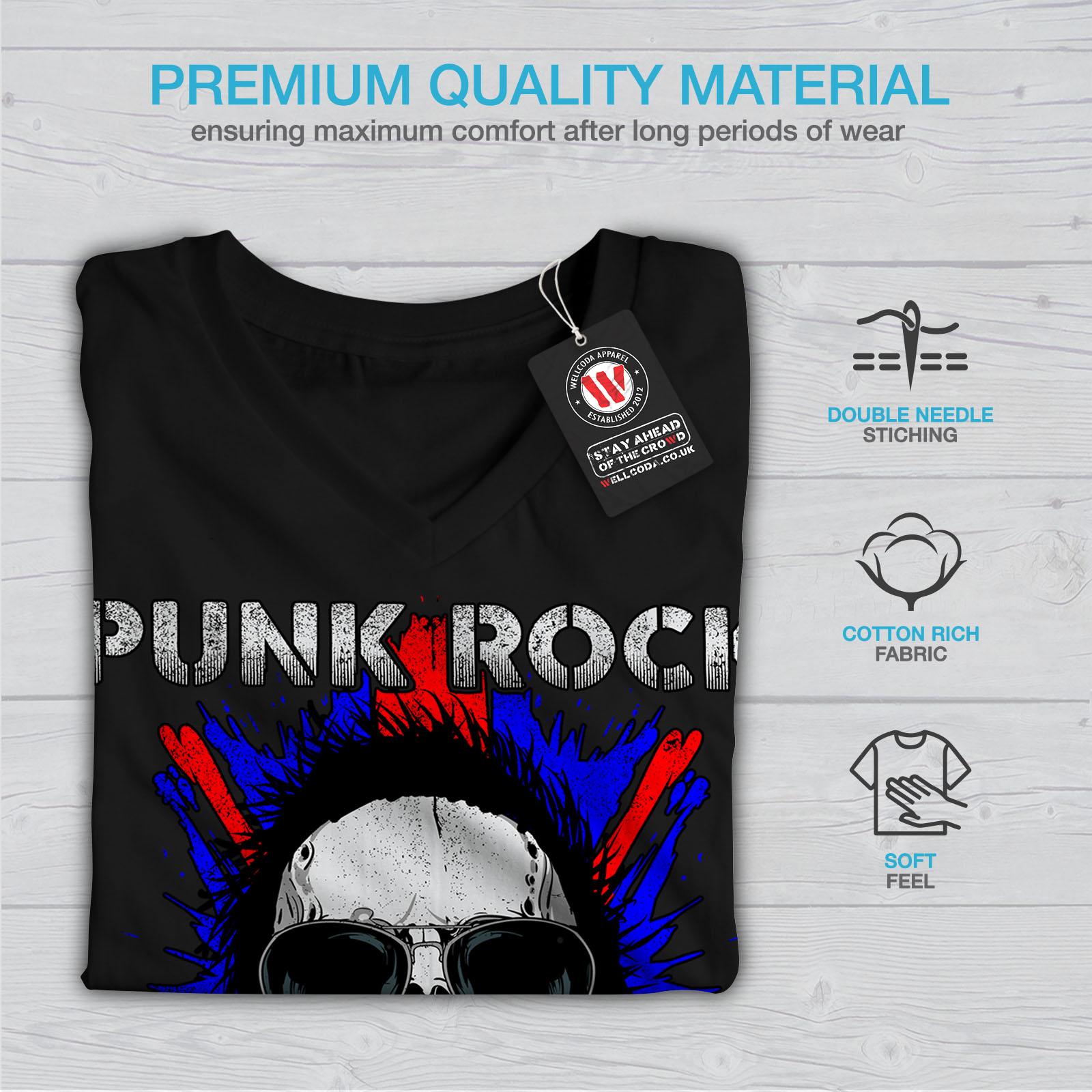 Wellcoda Death Funk Rock Skull Womens V-Neck T-shirt UK Graphic Design Tee