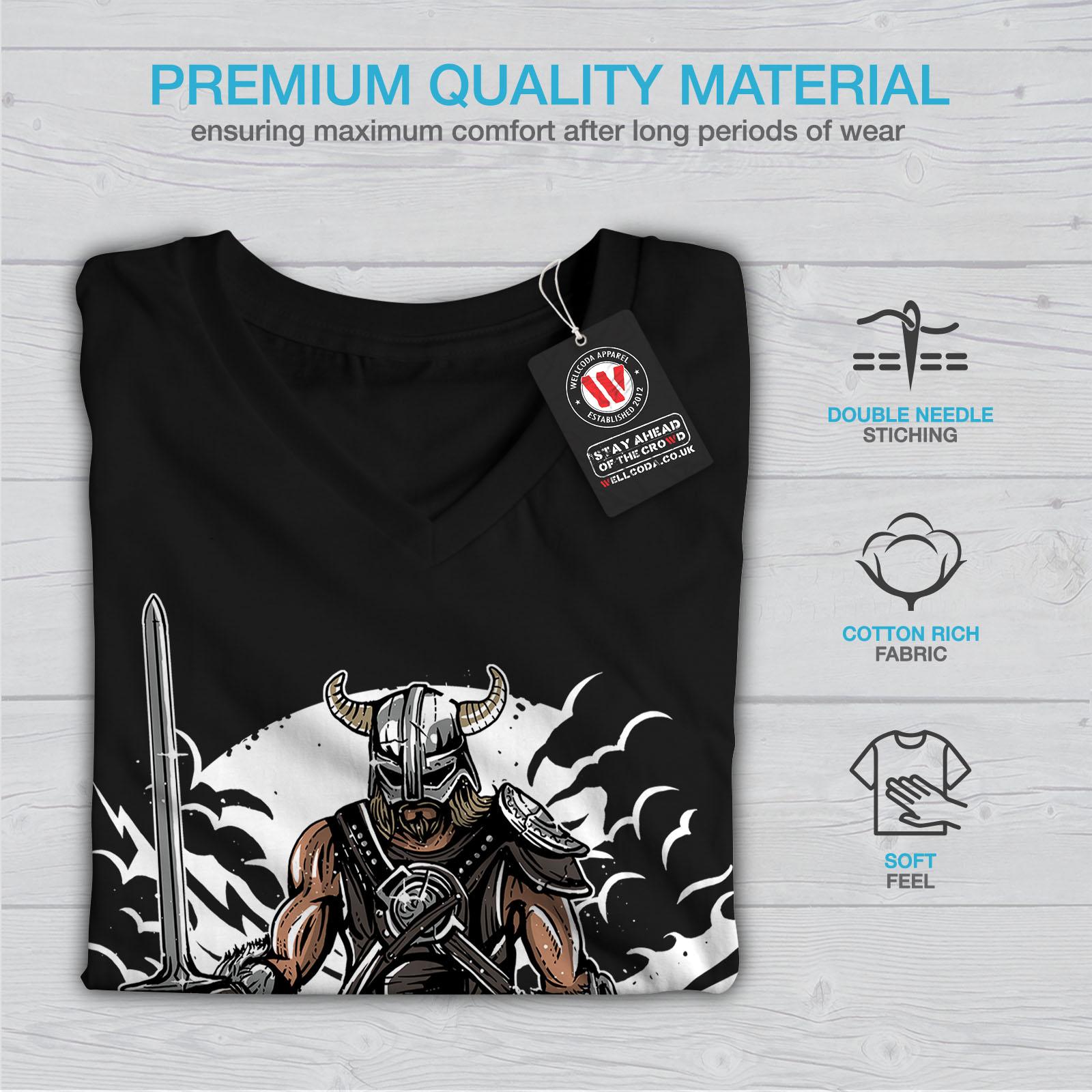 Viking-Warrior-Fashion-Women-V-Neck-T-shirt-NEW-Wellcoda miniatuur 5