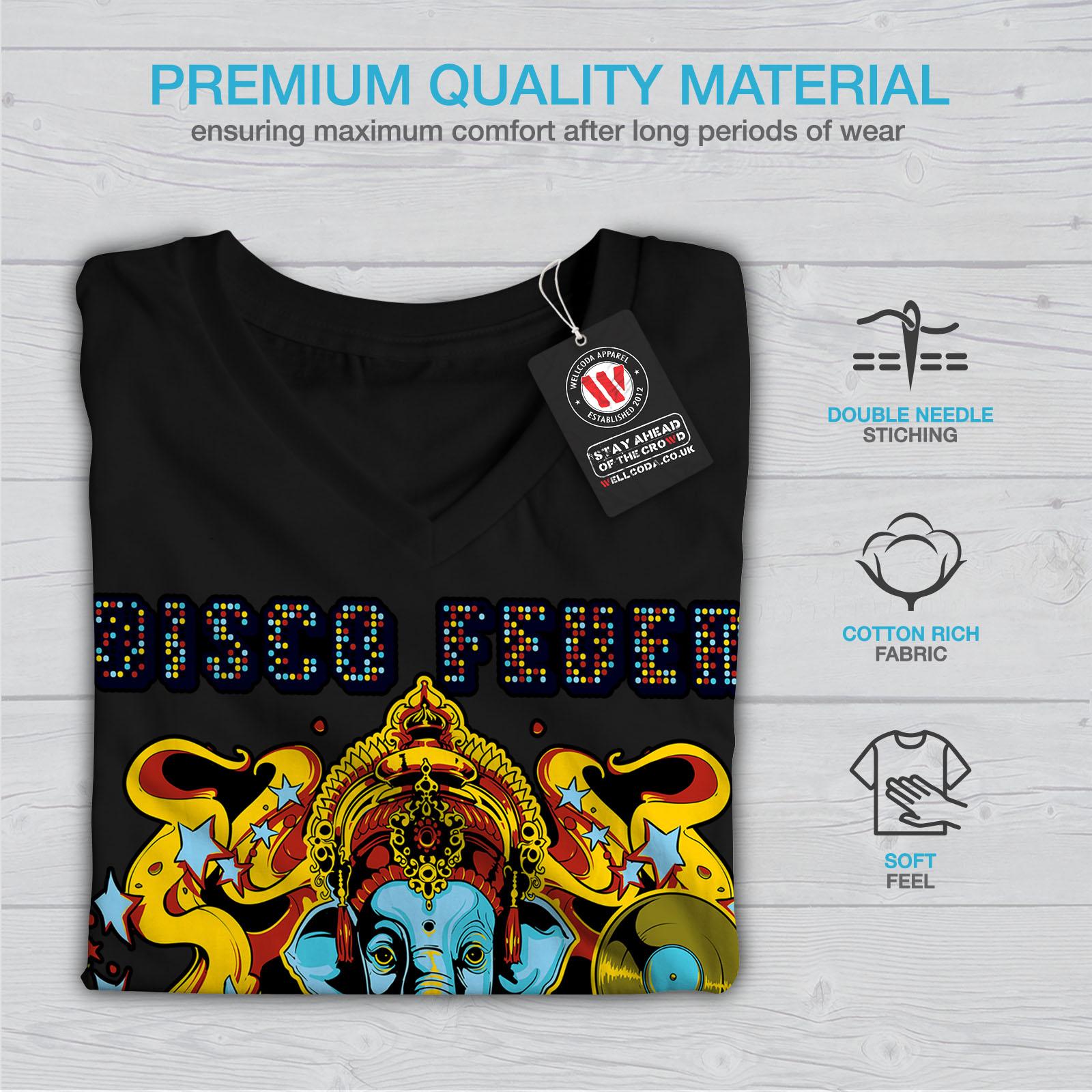 fe398330e Disco Fever Elephant Women V-Neck T-shirt NEW