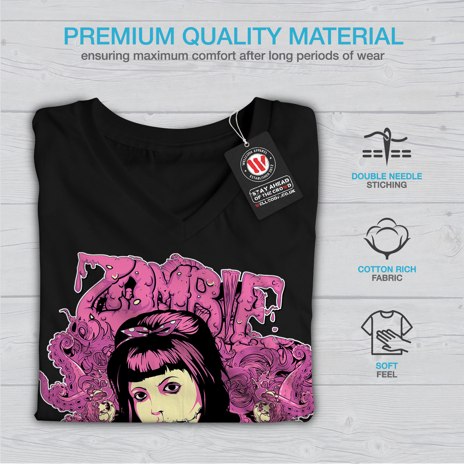 Wellcoda Undead Marionette Womens V-Neck T-shirt Creepy Graphic Design Tee
