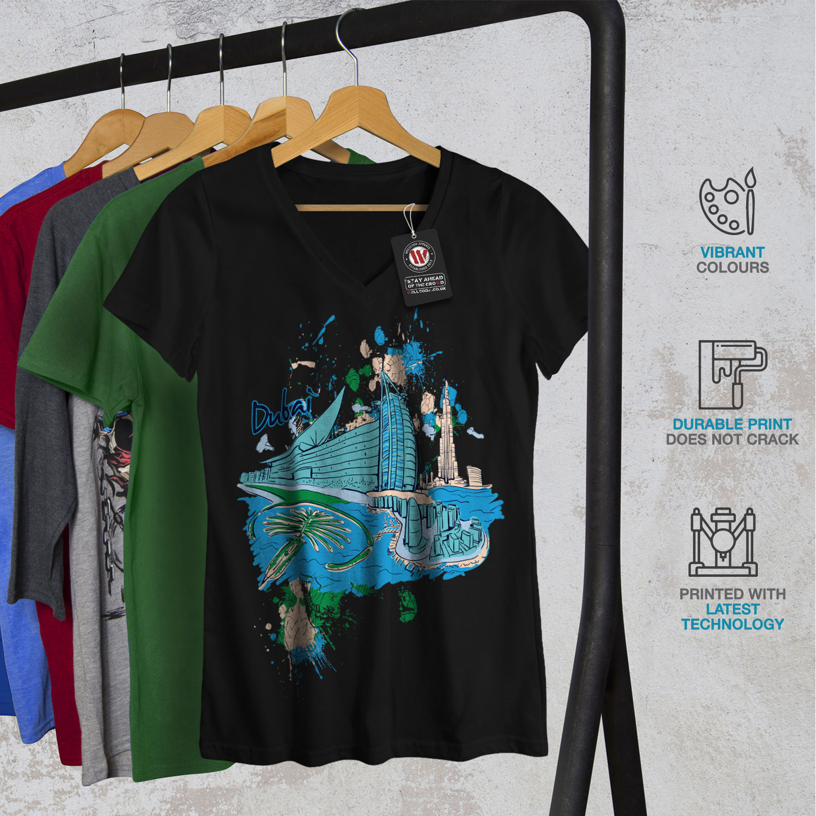 Wellcoda-Dubai-Womens-V-Neck-T-shirt-United-Arab-Graphic-Design-Tee thumbnail 4