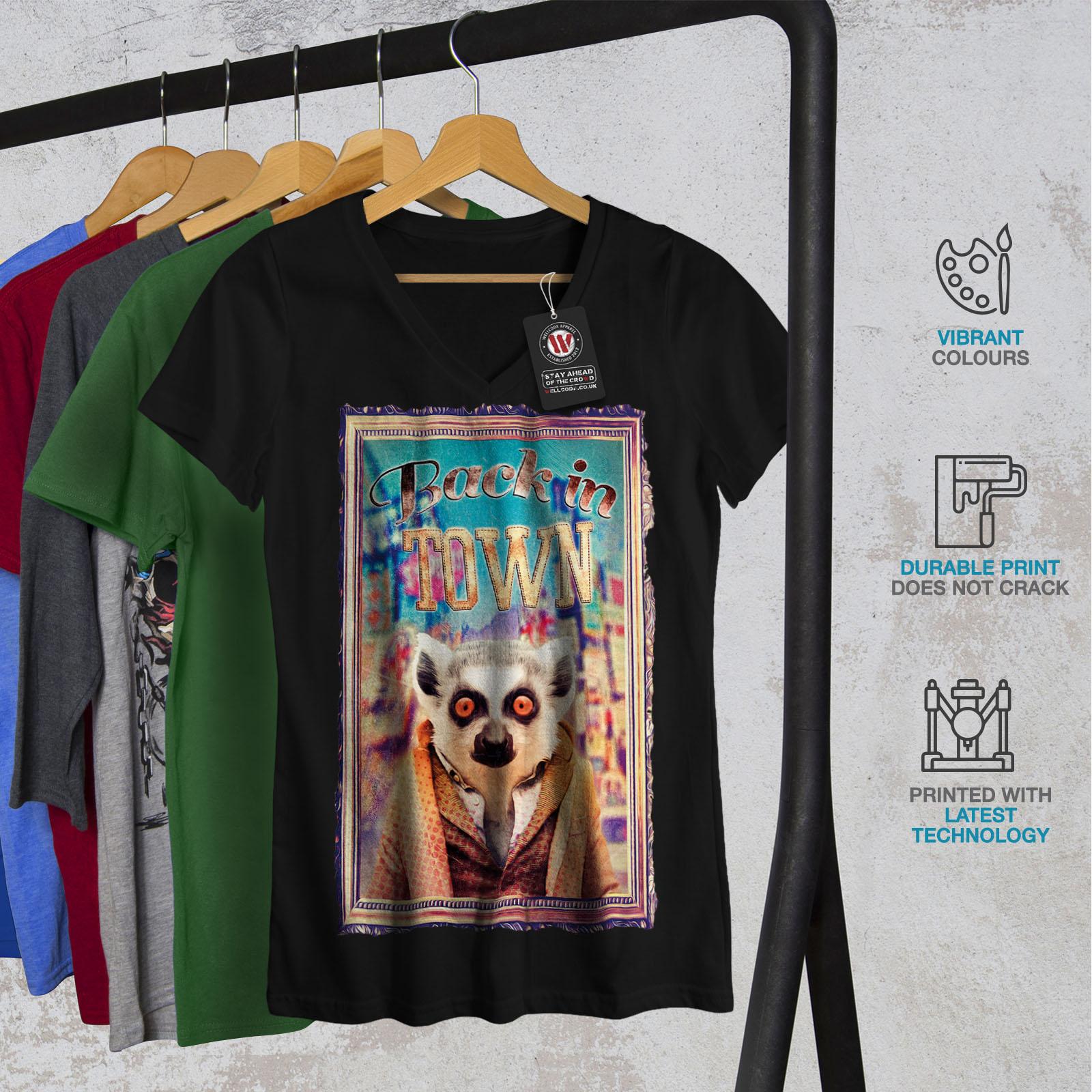Wellcoda-Back-In-Town-Joke-Womens-V-Neck-T-shirt-Monkey-Graphic-Design-Tee thumbnail 4
