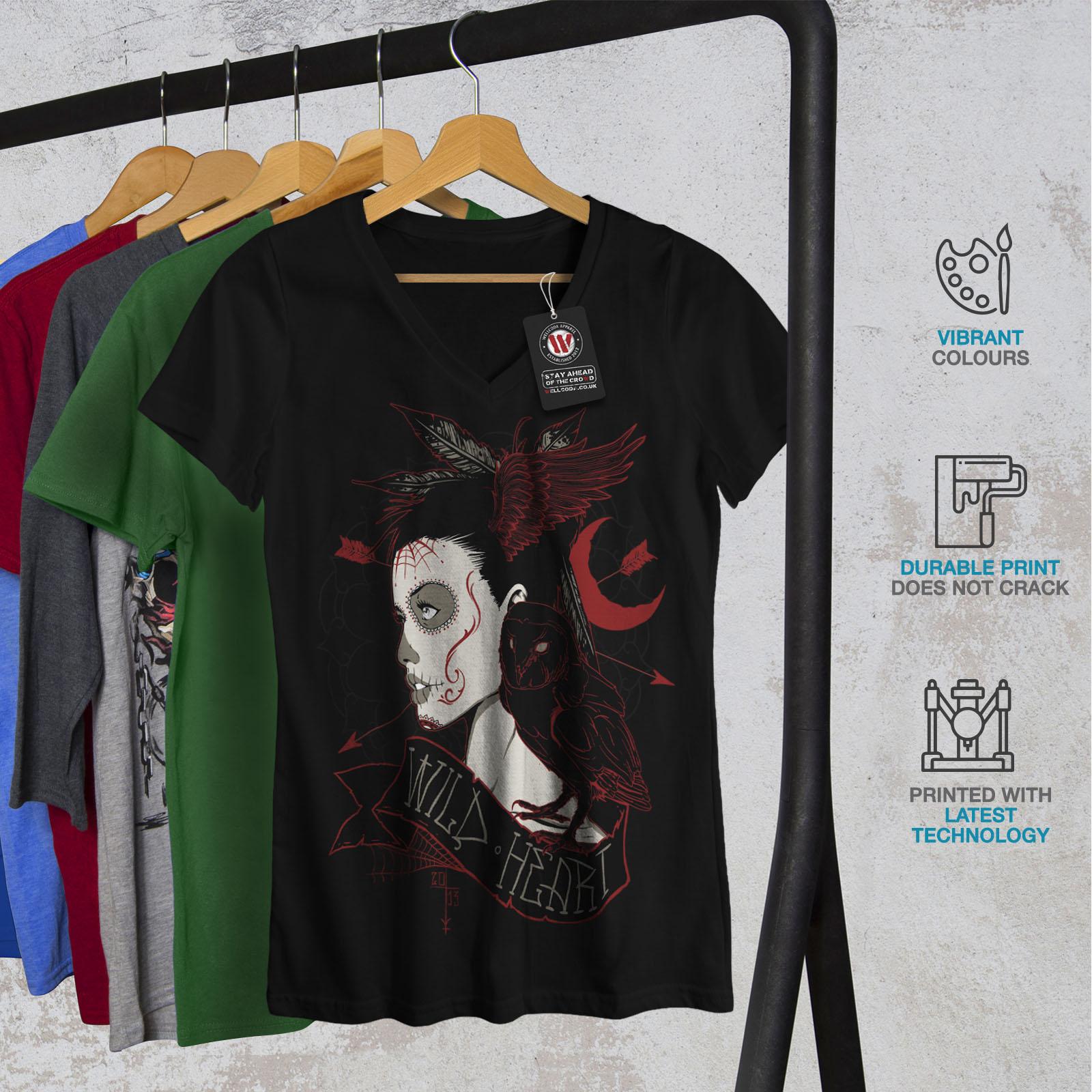 Wellcoda Wild Heart Girl FANTASY femme t-shirt col V mal conception graphique Tee