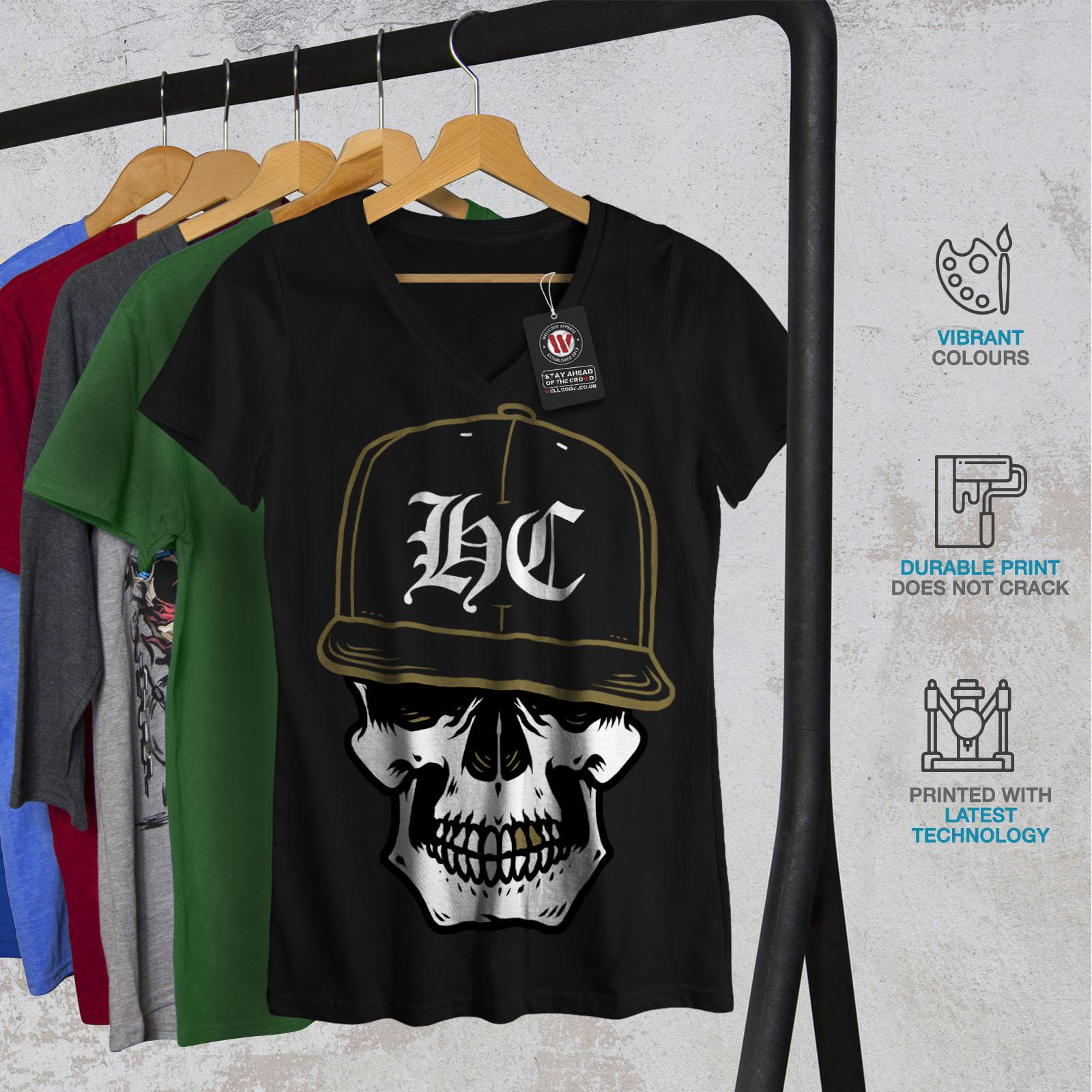 miniature 4 - Wellcoda Skull Swag Gamer Womens V-Neck T-shirt, Rapper Graphic Design Tee