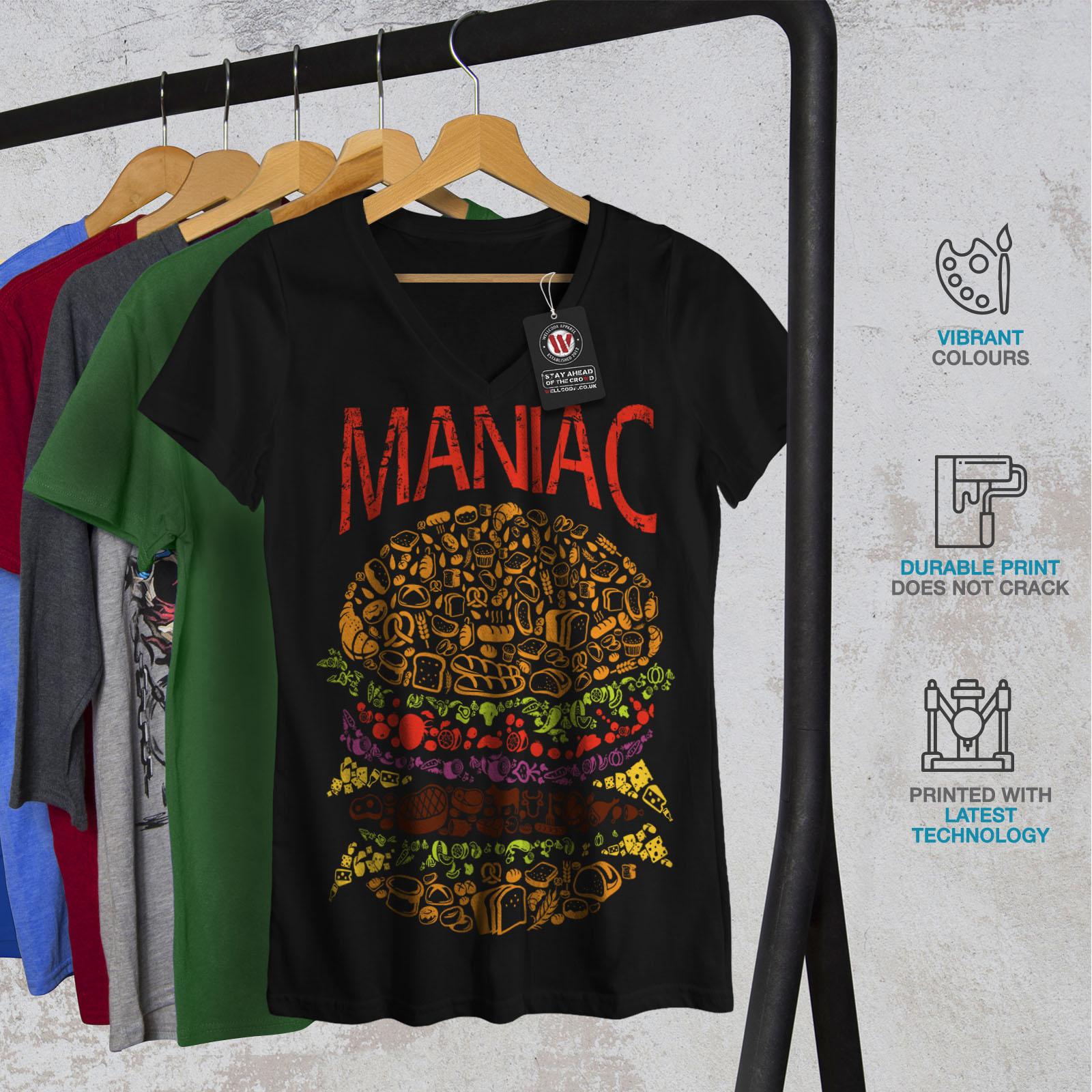 Burger-cibo-spazzatura-Donne-Fast-V-Neck-T-shirt-Nuove-wellcoda miniatura 4