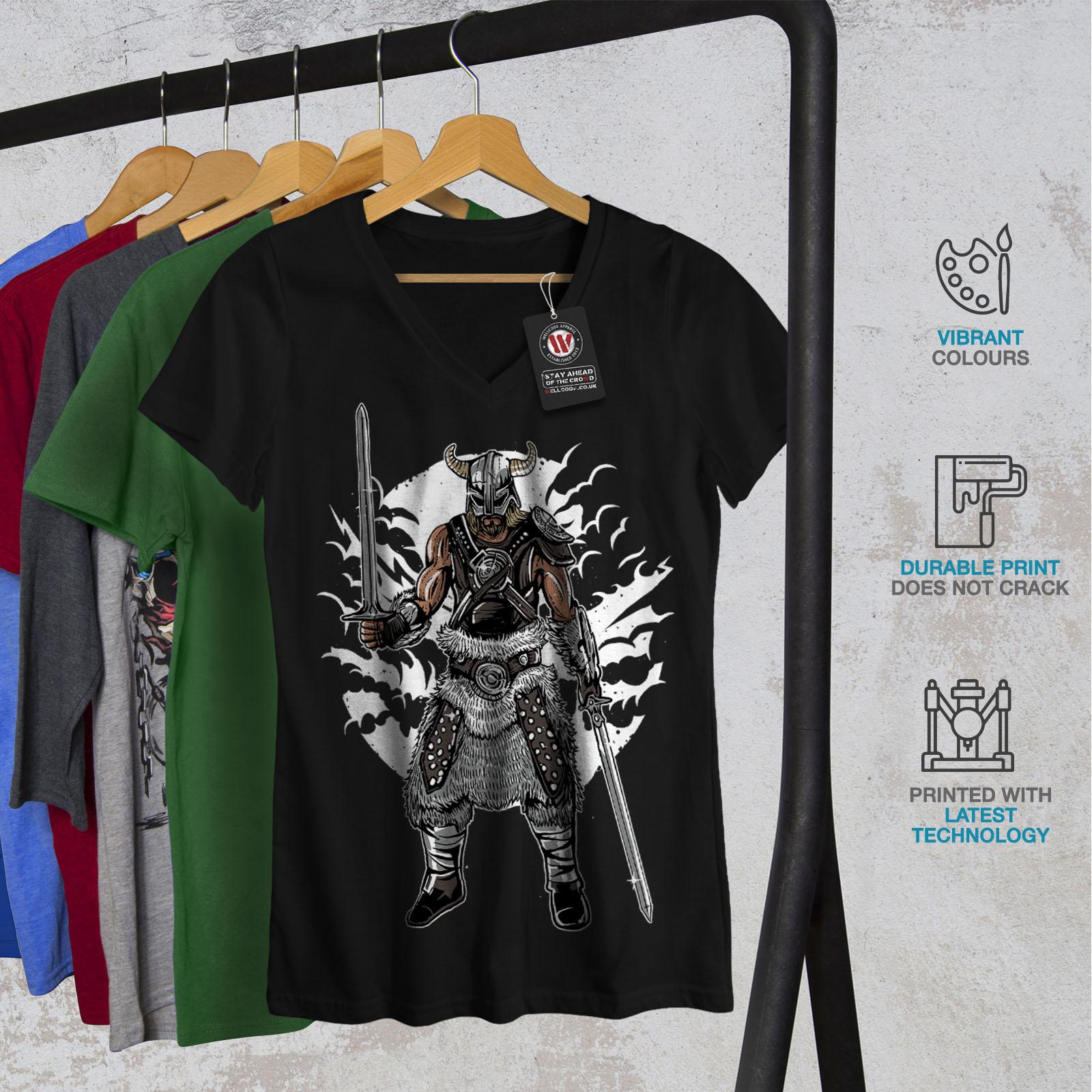 Viking-Warrior-Fashion-Women-V-Neck-T-shirt-NEW-Wellcoda miniatuur 4