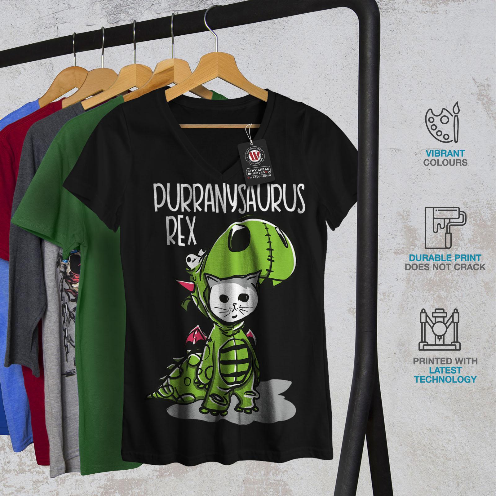 Carino-dinosauro-Donne-V-Neck-T-shirt-Nuove-wellcoda miniatura 4