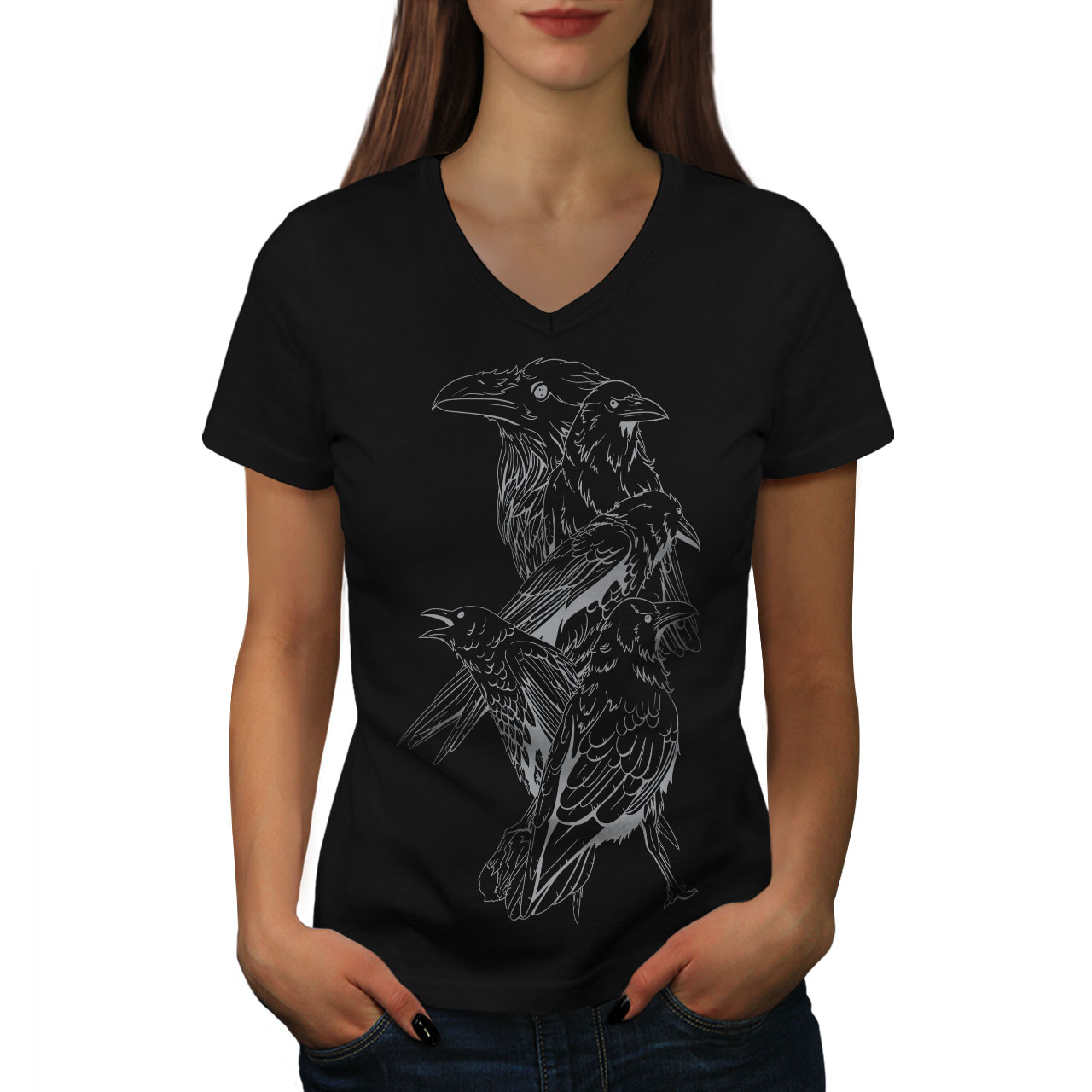 Wellcoda-Four-Scary-Raven-Womens-V-Neck-T-shirt-Crow-Birds-Graphic-Design-Tee thumbnail 3