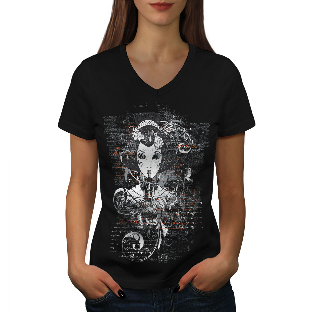 c1da5f07658d Wellcoda Gothic Asian Lady Womens V-Neck T-shirt, Girl Graphic ...