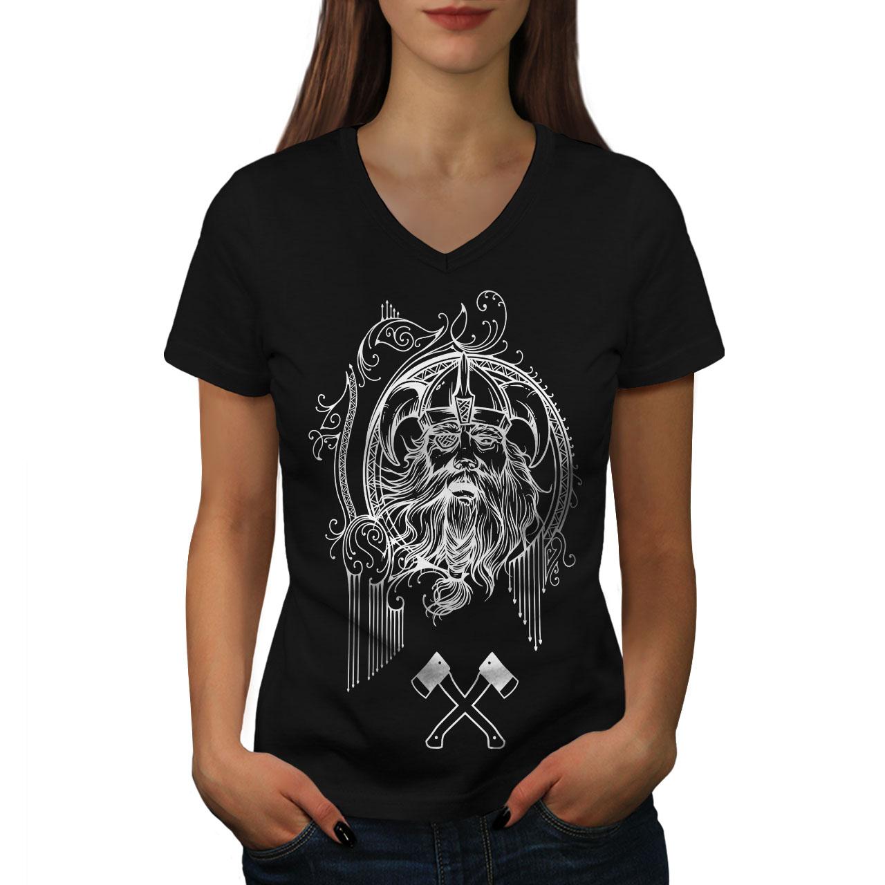 Wellcoda-North-Face-Guerrier-Femme-T-Shirt-col-V-Bataille-de-conception-graphique-Tee miniature 3