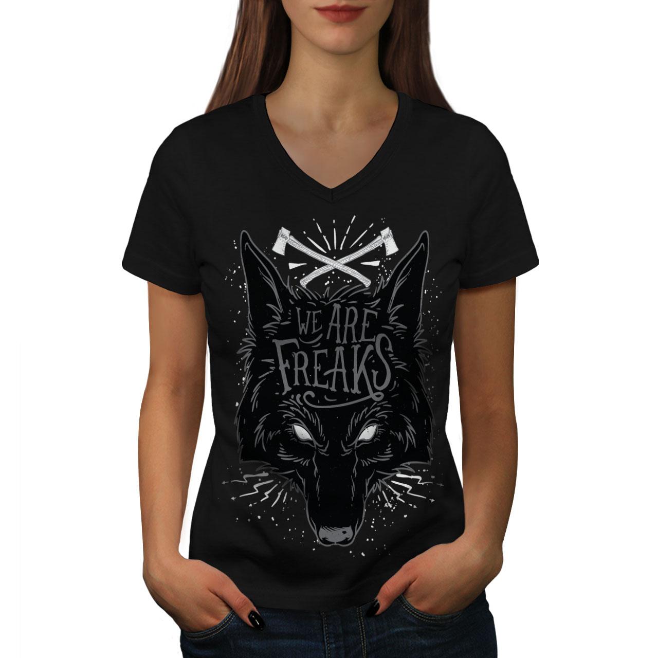 1855b292194 We Are Freaks Wolf Women V-Neck T-shirt NEW
