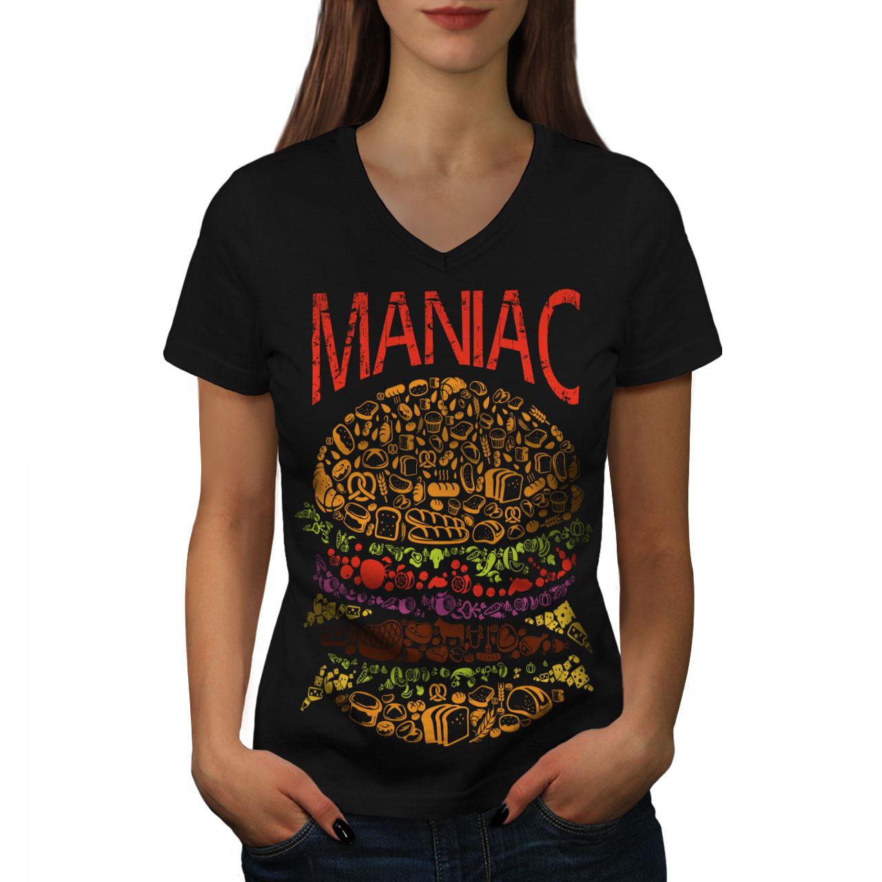 Burger-cibo-spazzatura-Donne-Fast-V-Neck-T-shirt-Nuove-wellcoda miniatura 3