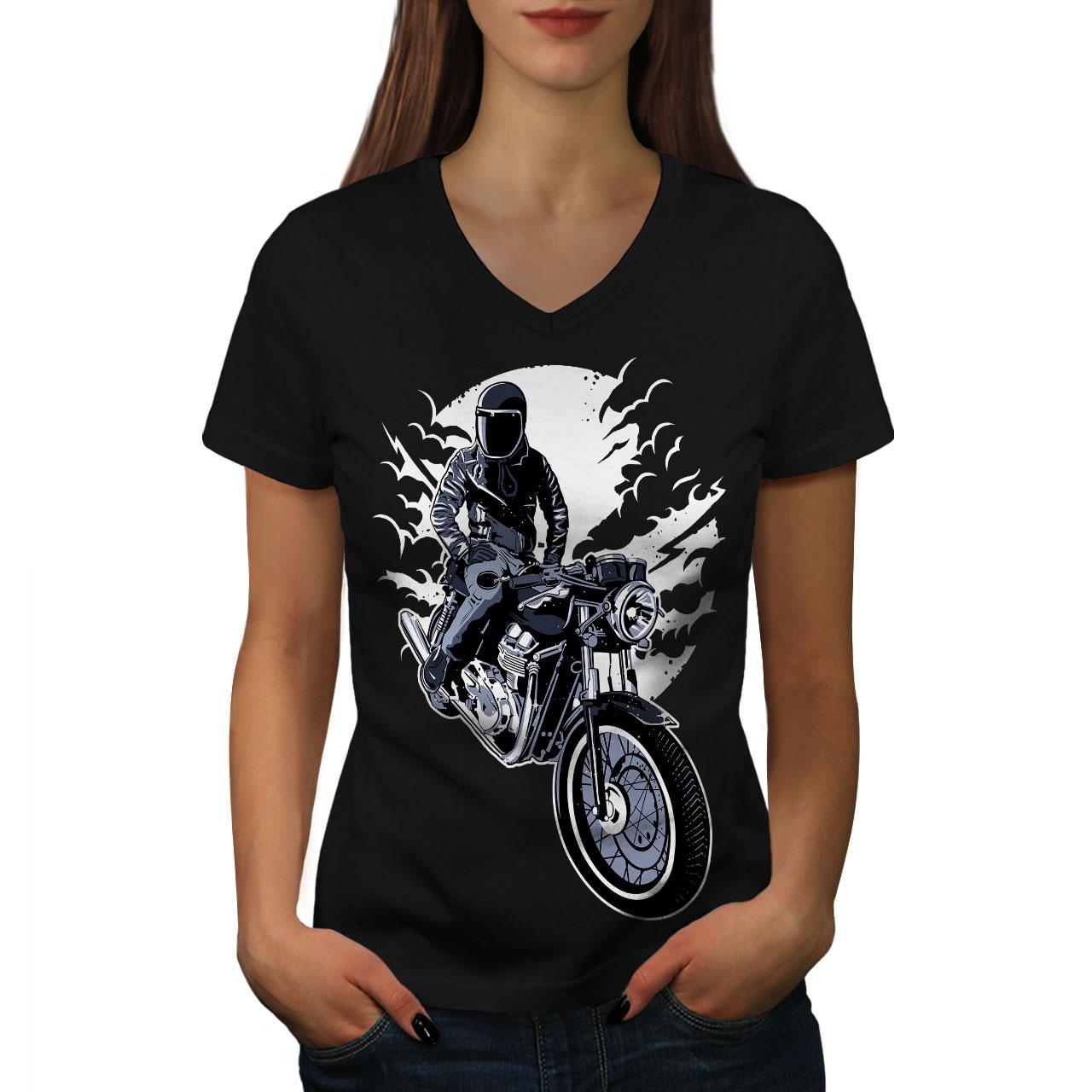 Le Meilleur Wellcoda Vélo Moto Nuit Motard Femme T-shirt Col V, Conception Graphique Tee-afficher Le Titre D'origine Excellente Qualité