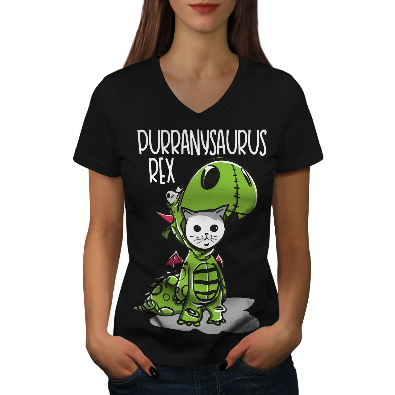 Carino-dinosauro-Donne-V-Neck-T-shirt-Nuove-wellcoda miniatura 3