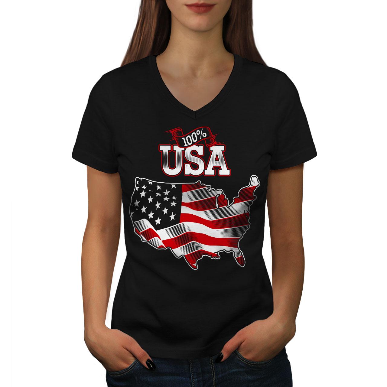 Wellcoda-American-Flag-Womens-V-Neck-T-shirt-USA-Country-Graphic-Design-Tee thumbnail 3